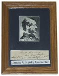 FRAMED AUTOGRAPH OF JAMES A. HARDIE, UNION GENERAL
