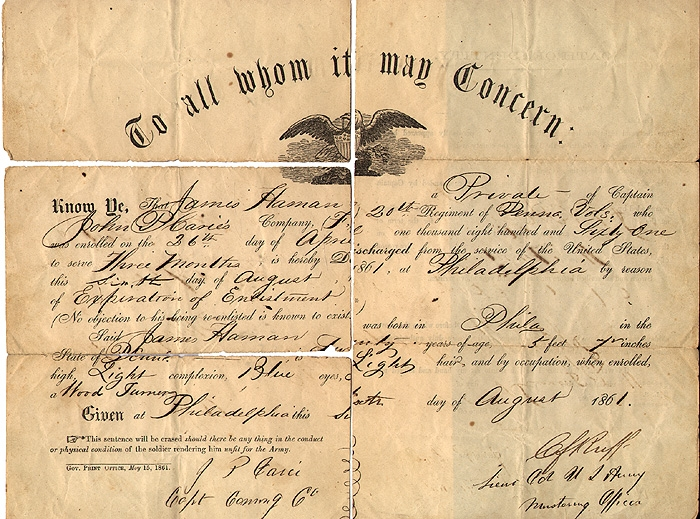 CIVIL WAR DISCHARGE PAPER FOR A PENNSYLVANIA SOLDIER