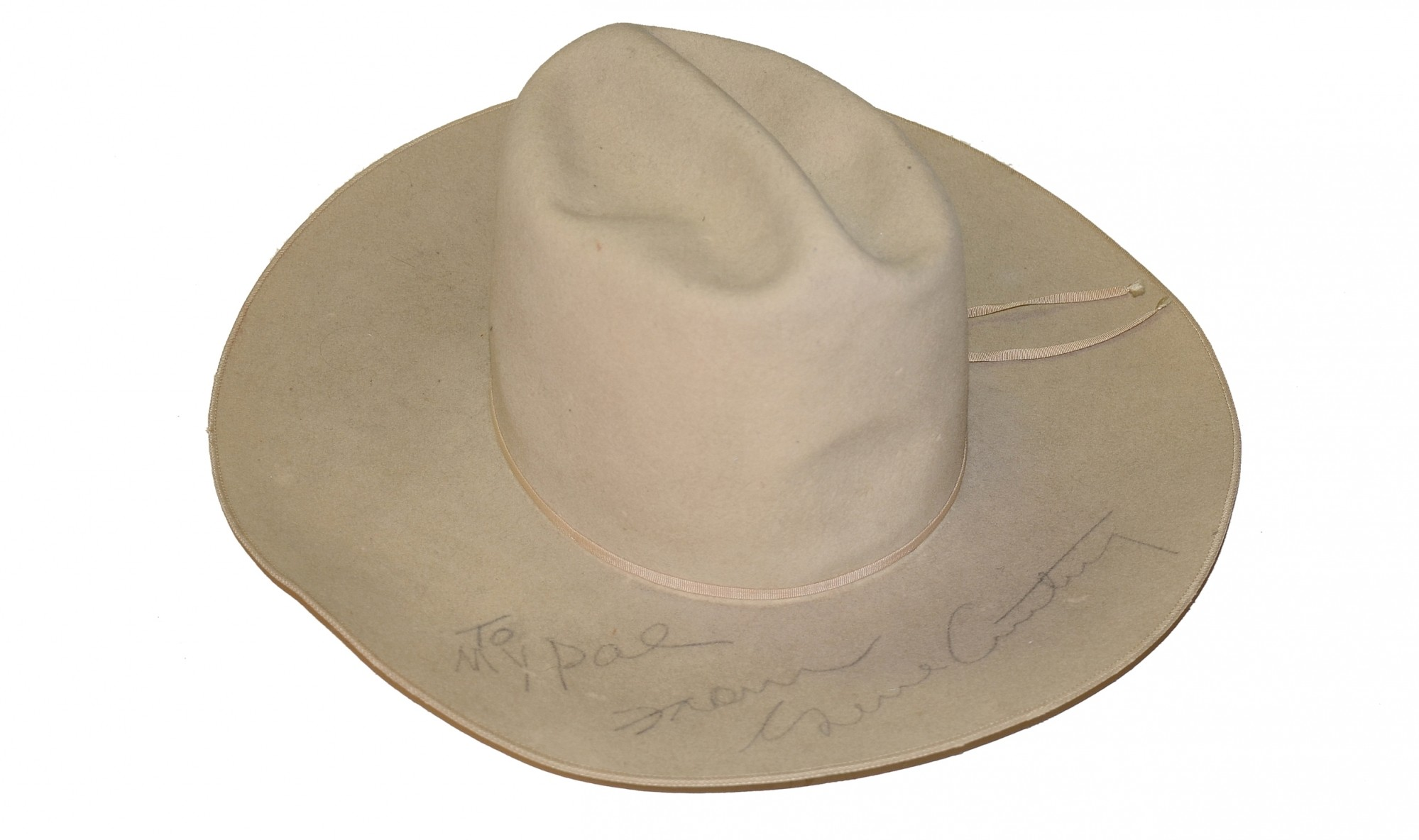 COWBOY HAT MADE FOR AND SIGNED BY GENE AUTRY, AS WELL AS HIS COWBOY SHIRT WITH PHOTO OF THE SHIRT BEING WORN