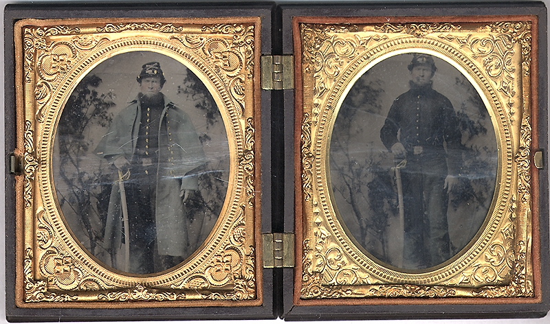 TWO 1/6 PLATE TINTYPES OF A WELL-ARMED FEDERAL CAVALRYMAN