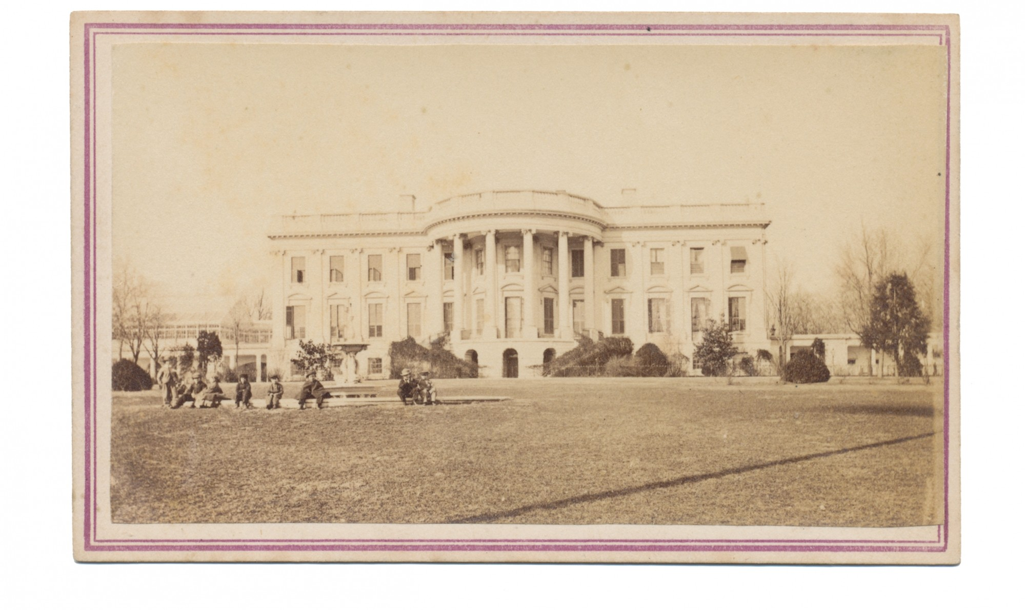 CDV WARTIME VIEW OF THE REAR OF THE WHITE HOUSE
