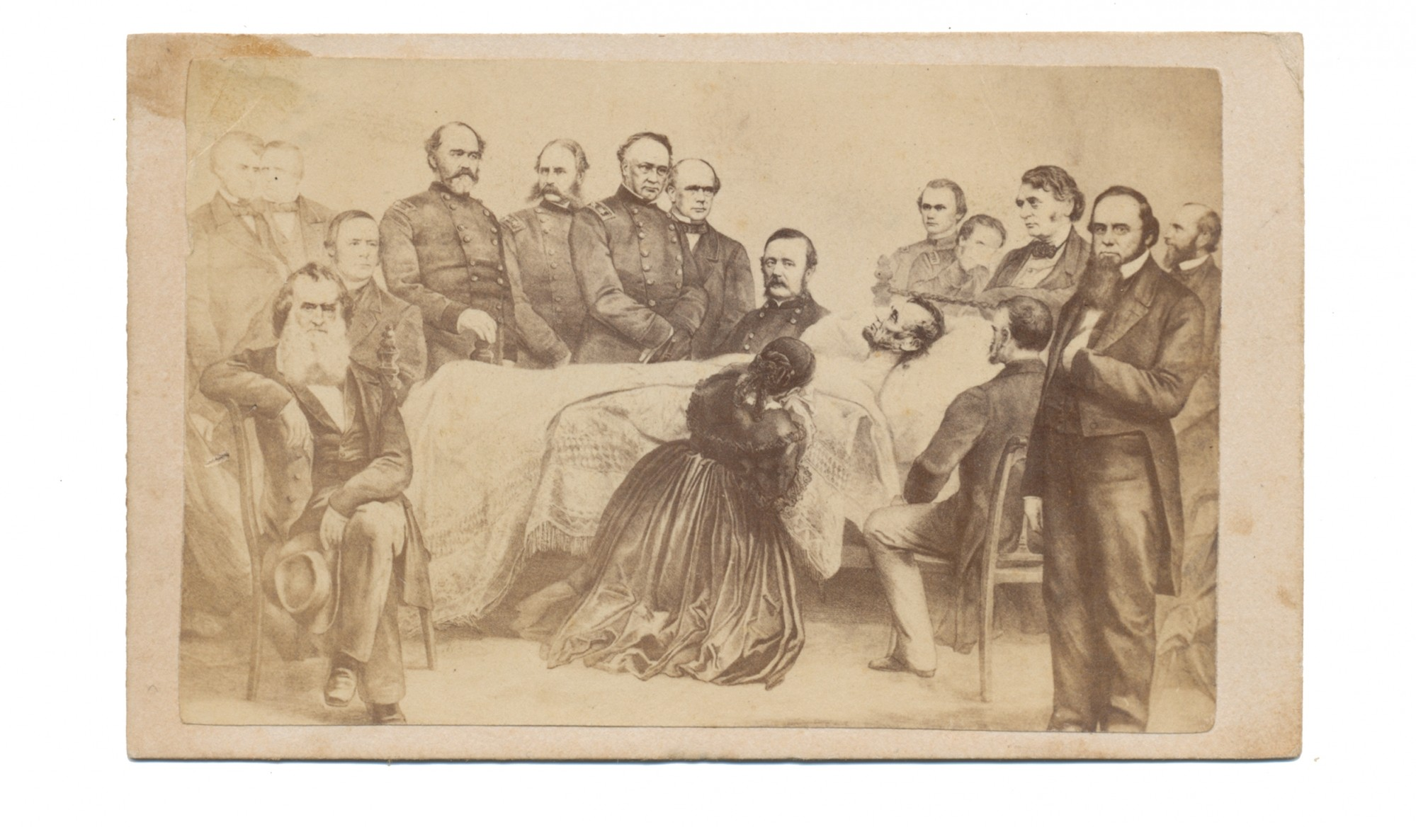 LITHOGRAPHED CDV OF PRESIDENT LINCOLN'S DEATHBED