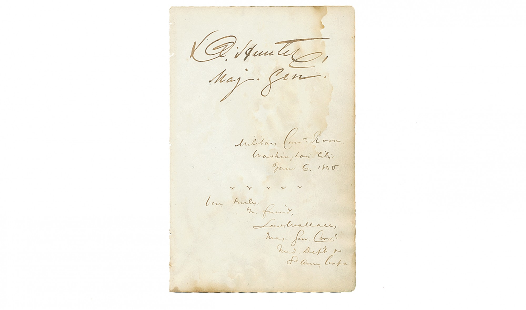 AUTOGRAPHS OF TWO MEMBERS OF THE LINCOLN ASSASSINATION COMMISSION