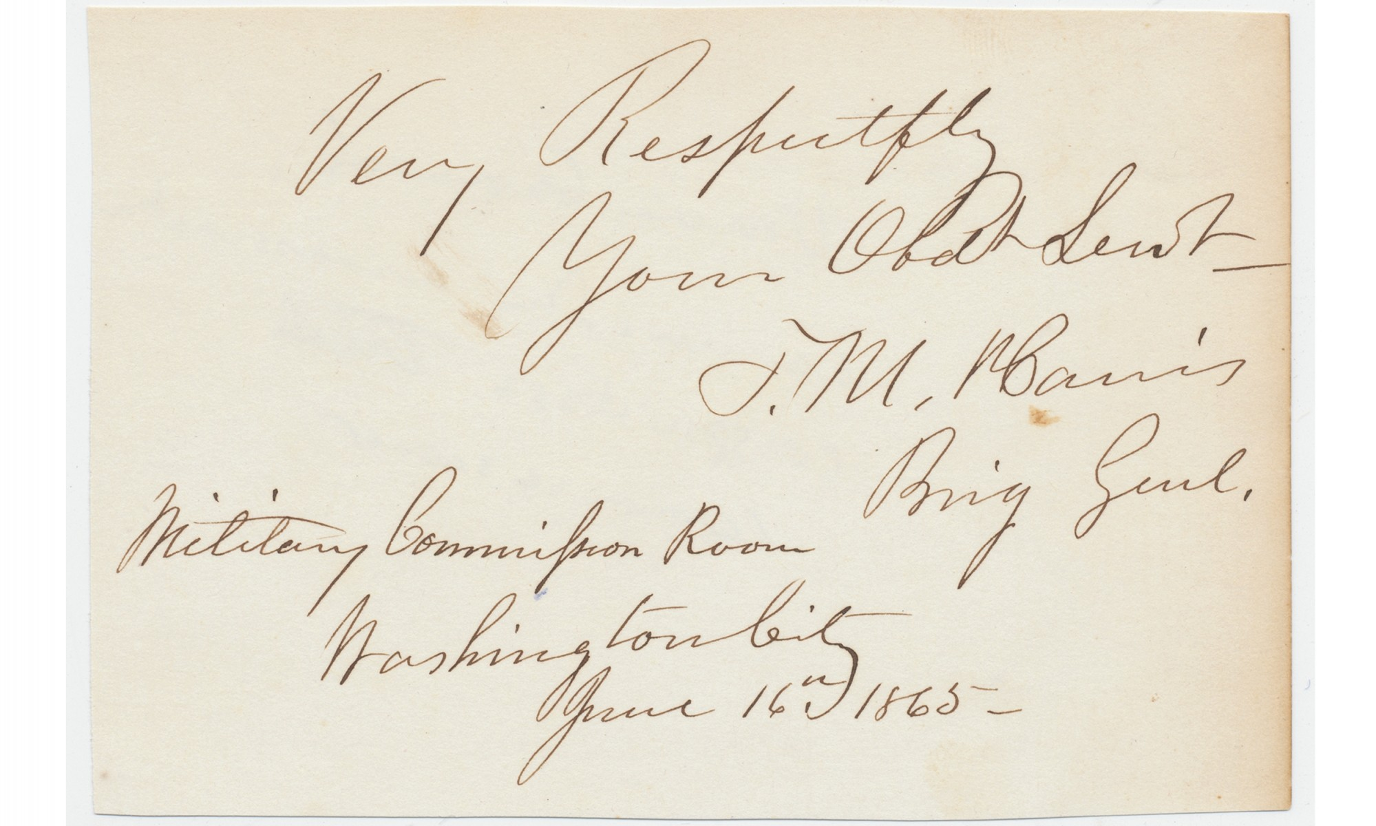 LINCOLN CONSPIRACY TRIAL - COMMISSION MEMBER'S AUTOGRAPH