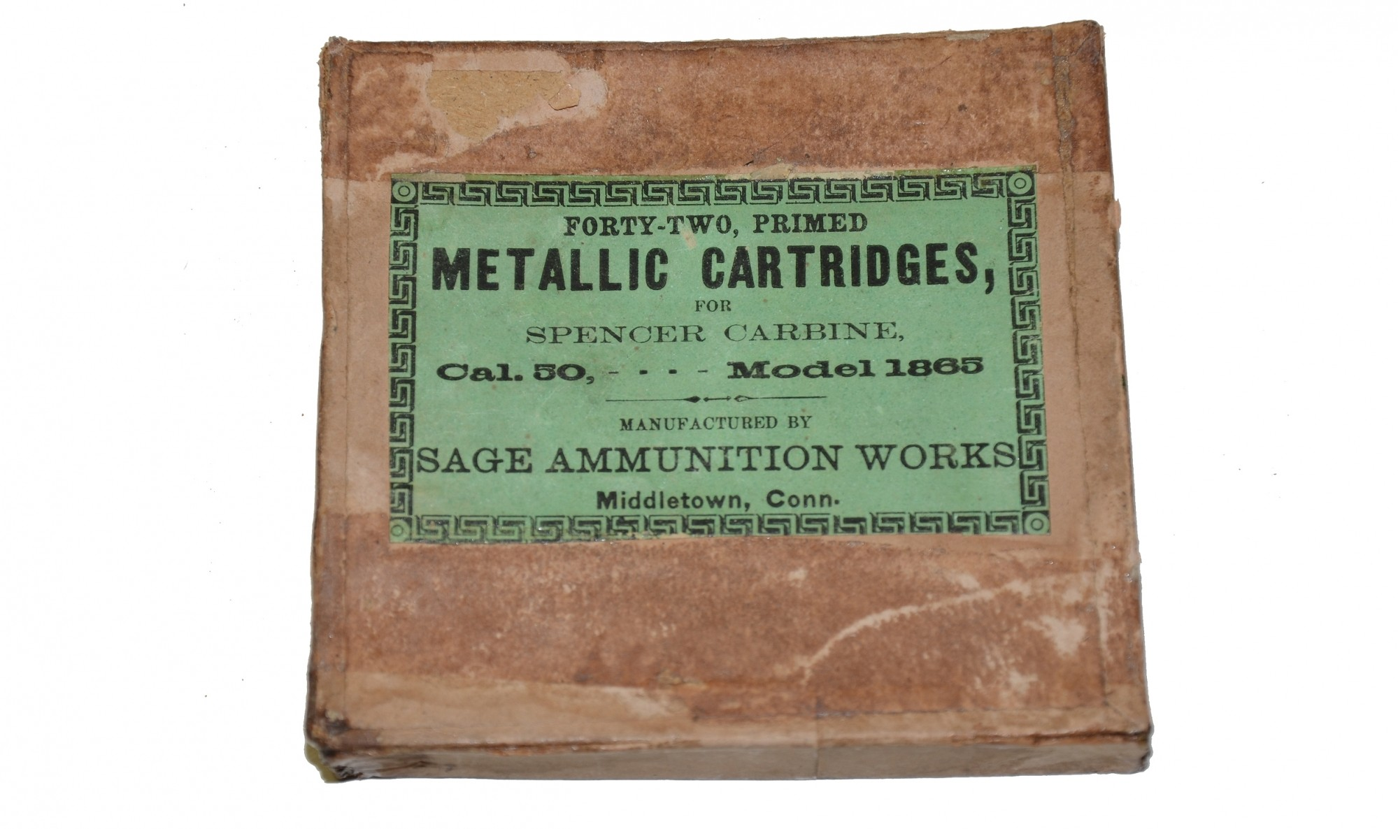 ORIGINAL PACK OF SEVEN 56.50 SPENCER METALLIC RIMFIRE CARTRIDGES BY D. C. SAGE, IN A PARTIAL ORIGINAL BOX