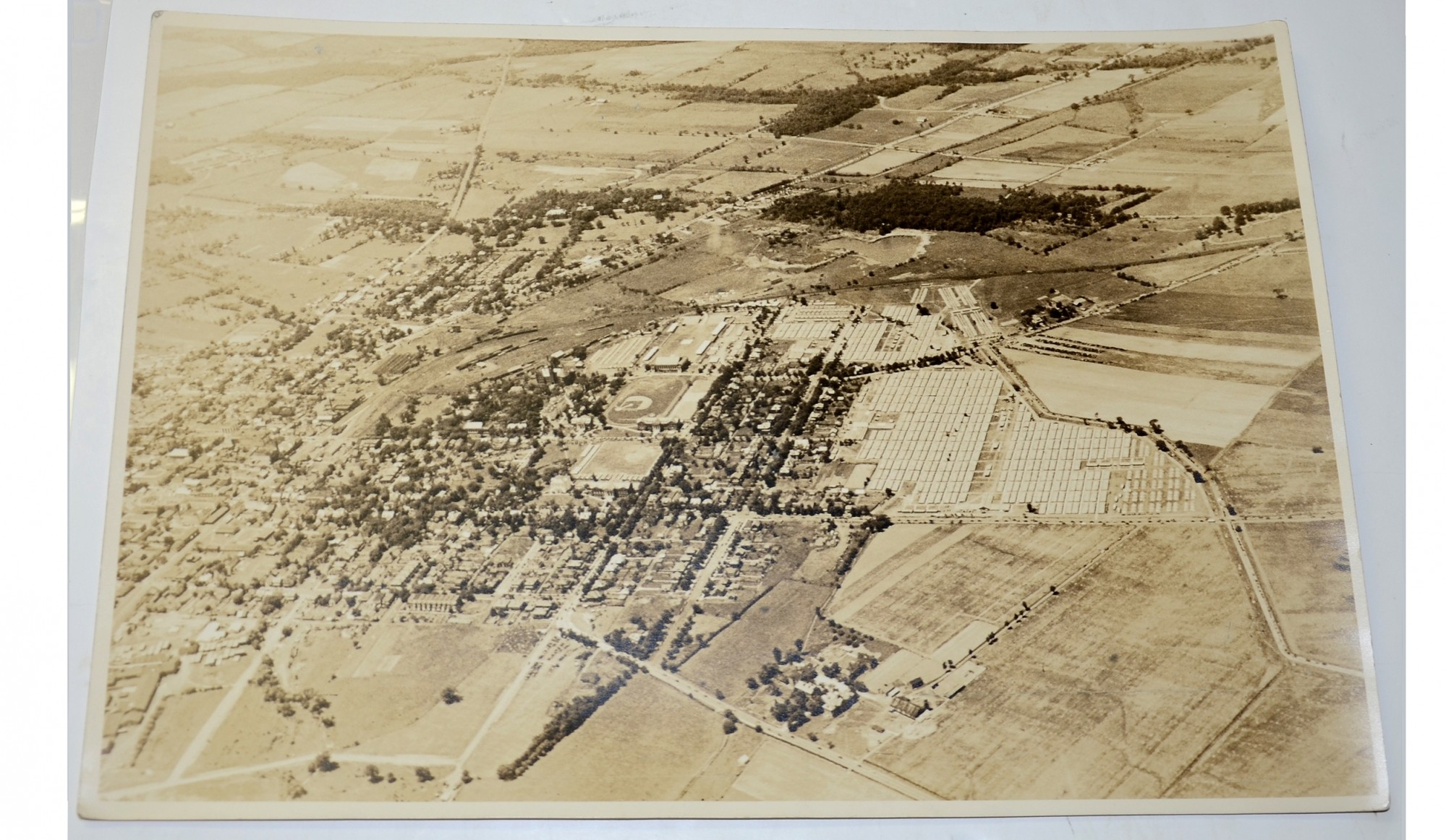 AERIAL PHOTO OF THE GETTYSBURG TAKEN ON JULY 4, 1938 DURING THE DEDICATION OF THE PEACE LIGHT MEMORIAL