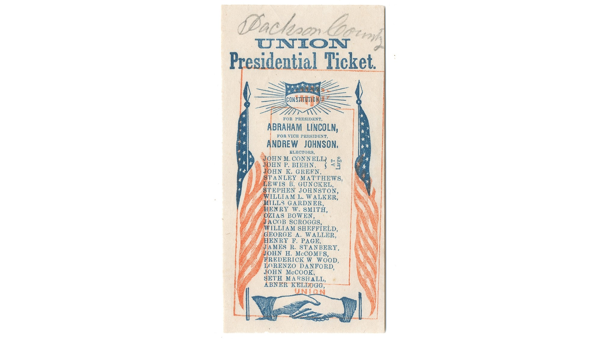 PRINTED 1864 PRESIDENTIAL ELECTION TICKET