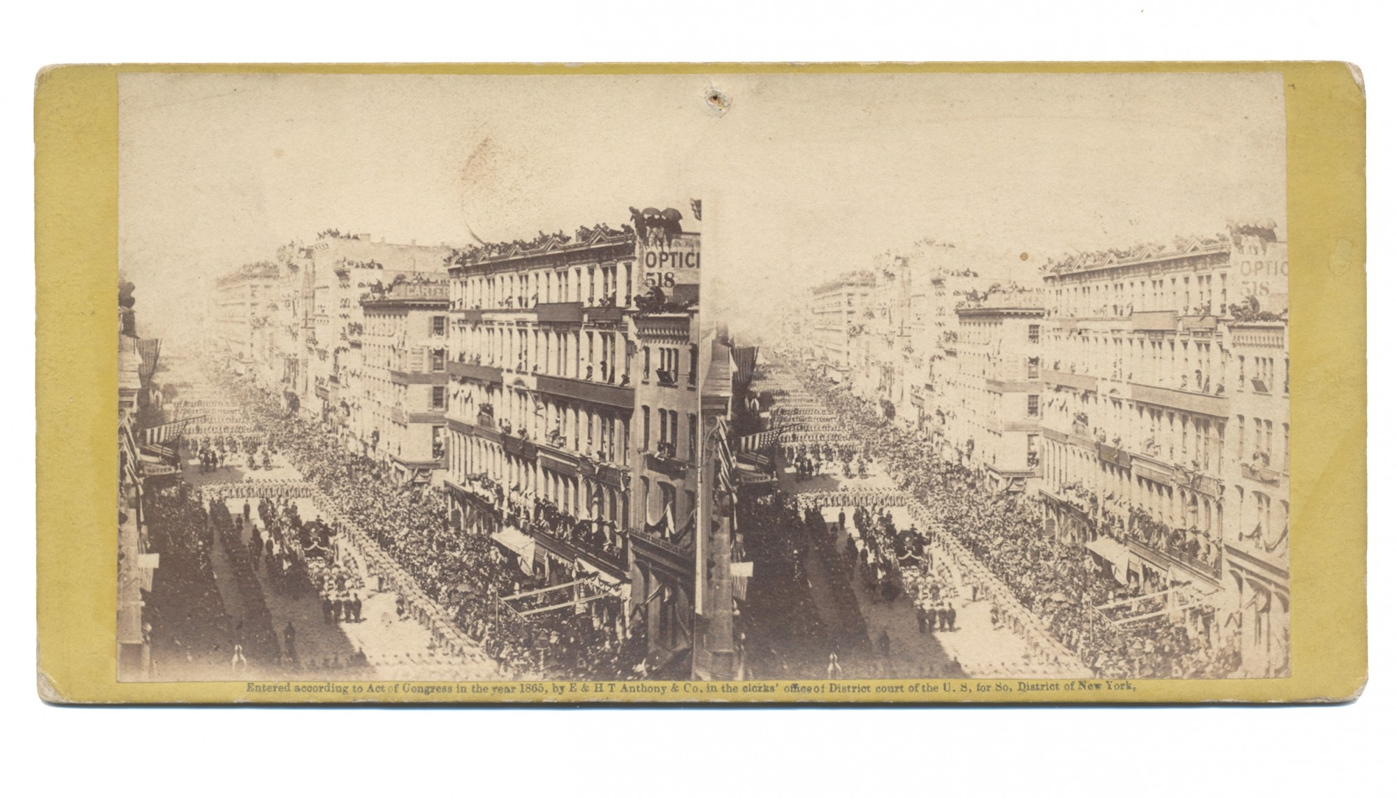 STEREO VIEW OF PRESIDENT LINCOLN'S FUNERAL PROCESSION IN NEW YORK CITY