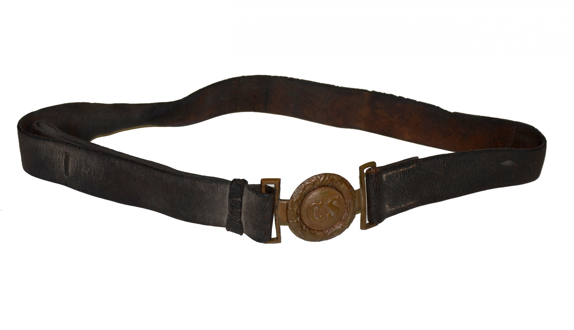 ORIGINAL CONFEDERATE TONGUE AND WREATH BUCKLE ON ATTACHED NON-DUG, LEATHER WAIST BELT