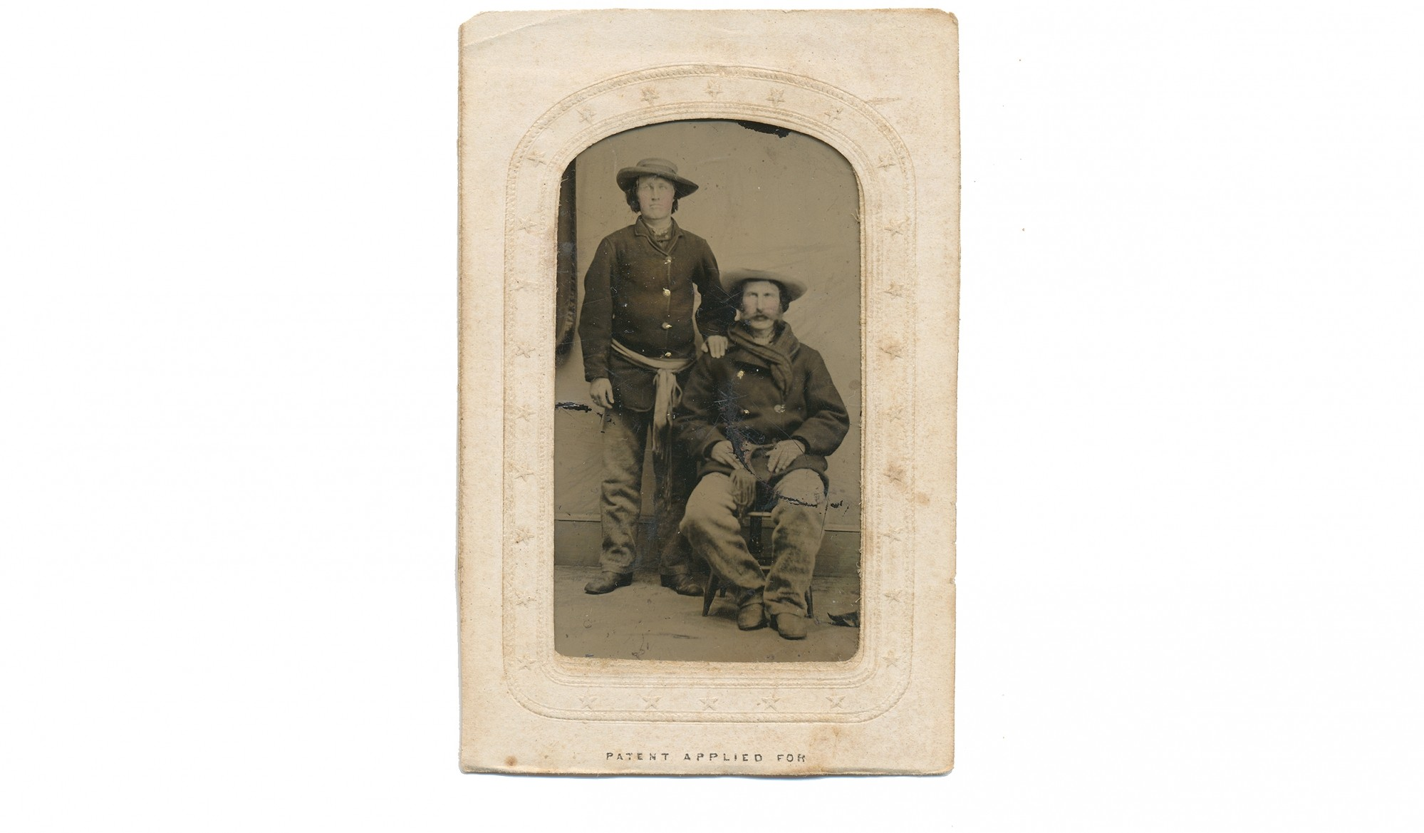 CDV SIZED TINTYPE OF TWO ROUGH LOOKING SOLDIERS