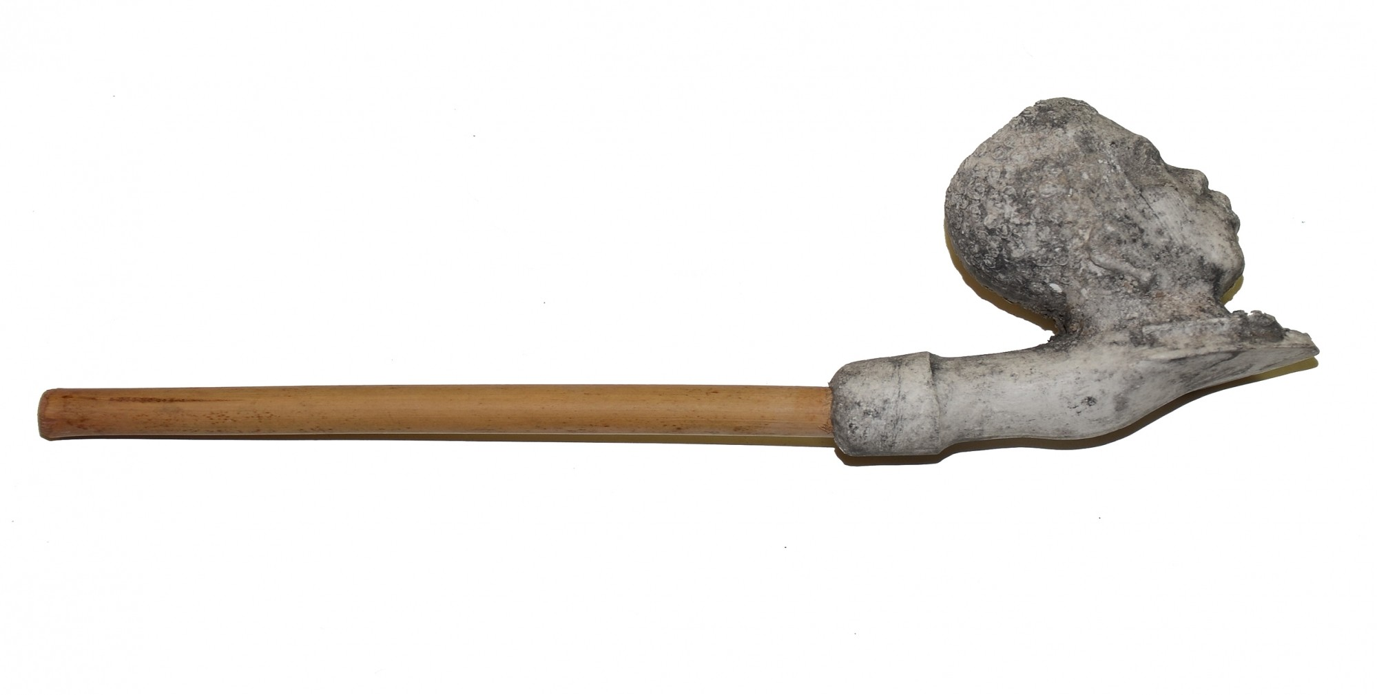 CLAY PIPE WITH BOWL SHAPED LIKE THE HEAD OF AFRICAN AMERICAN