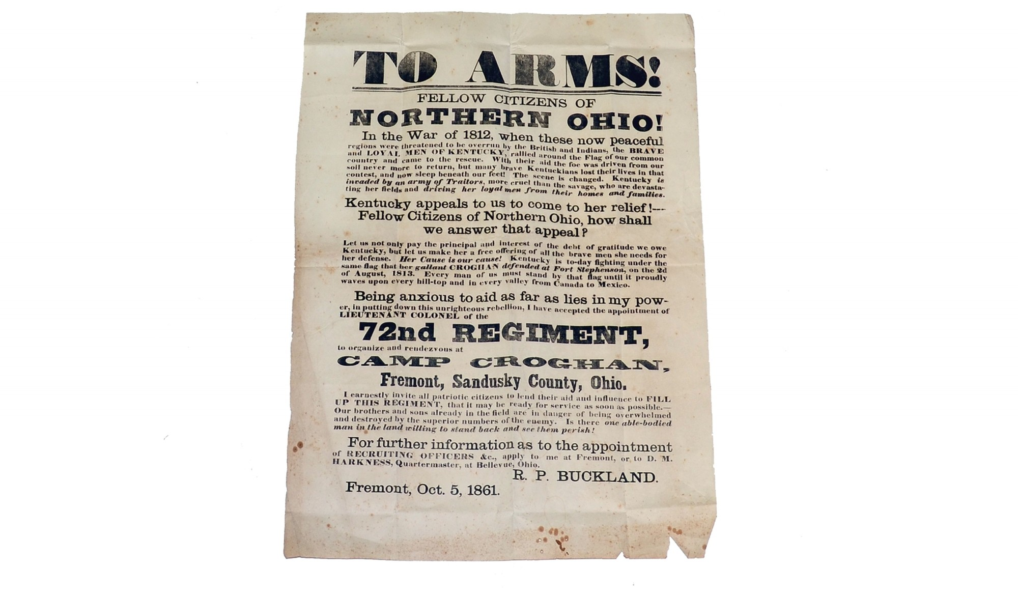 RECRUITING BROADSIDE FOR 72ND OHIO INFANTRY