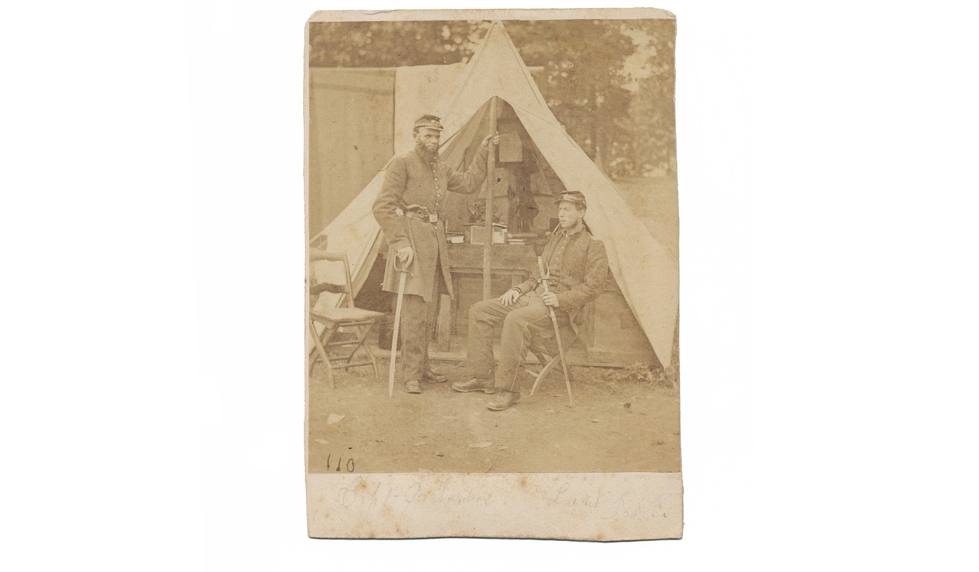 WONDERFUL OUTDOOR VIEW OF TWO UNIDENTIFIED UNION OFFICERS