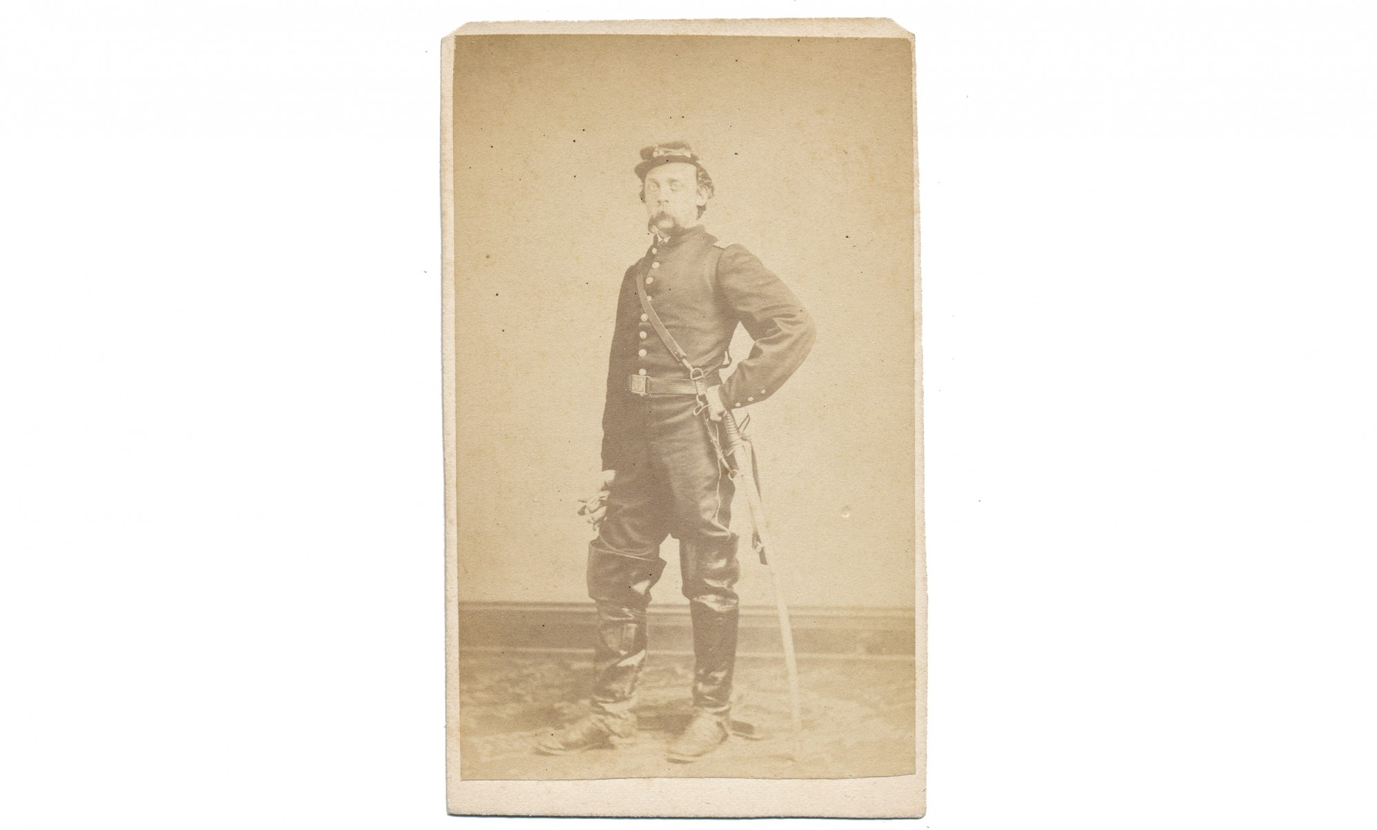 CDV FULL STANDING VIEW OF C. HOUGHTON LAWRENCE OF THE 2ND NEW HAMPSHIRE AND ADJUTANT GENERALS DEPARTMENT