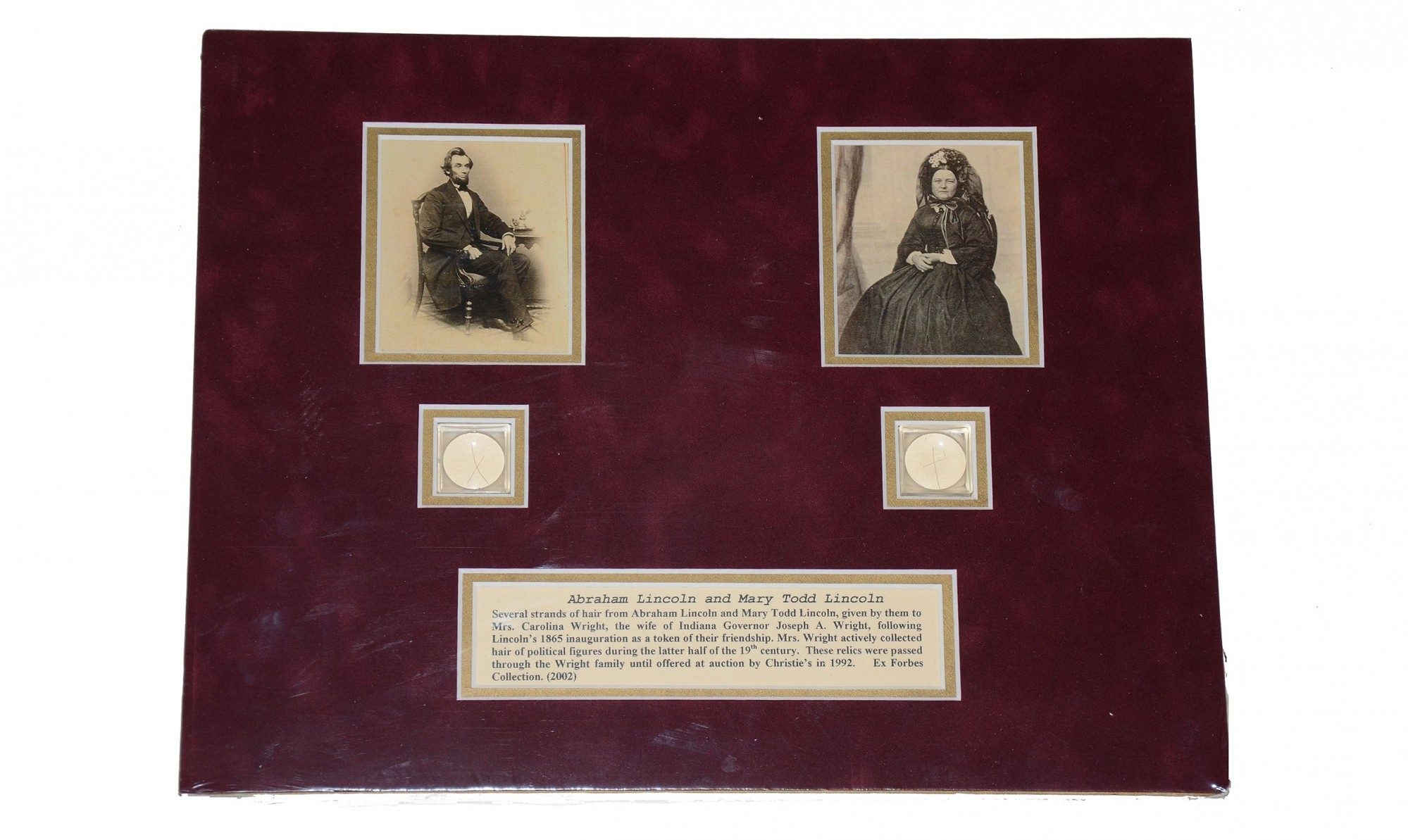 STRANDS OF HAIR FROM ABRAHAM LINCOLN AND MARY LINCOLN