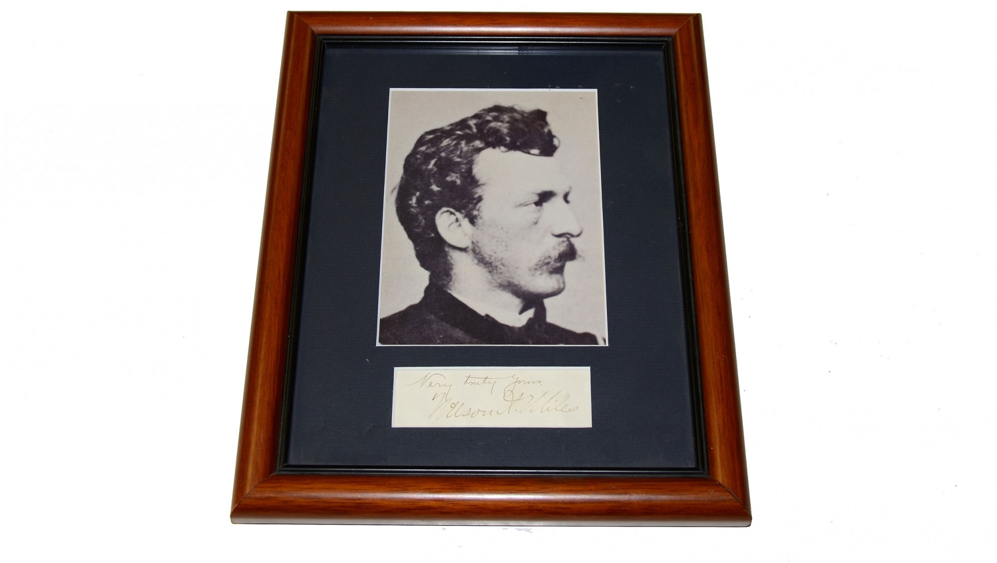FRAMED CLIPPED SIGNATURE OF GENERAL NELSON MILES