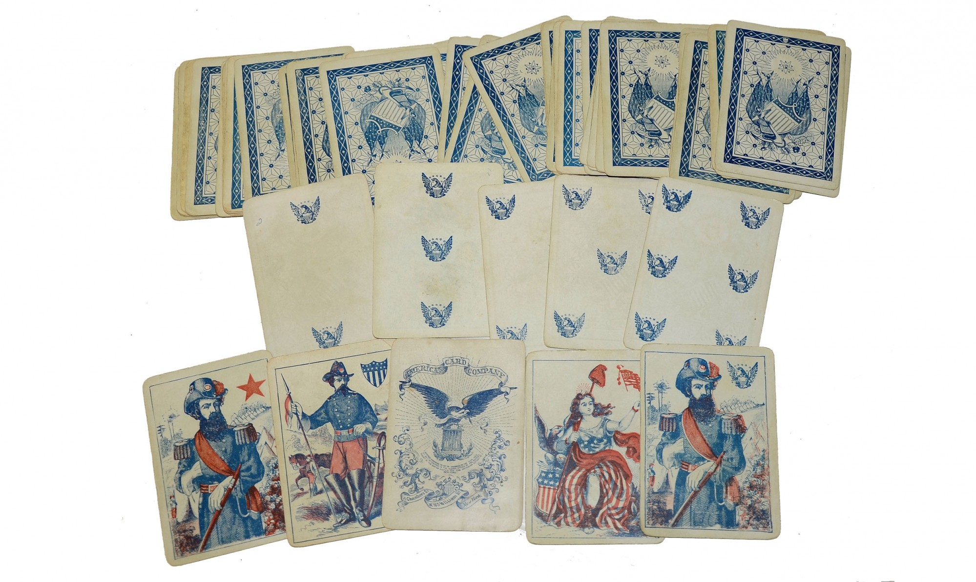 COMPLETE DECK OF CIVIL WAR PATRIOTIC PLAYING CARDS