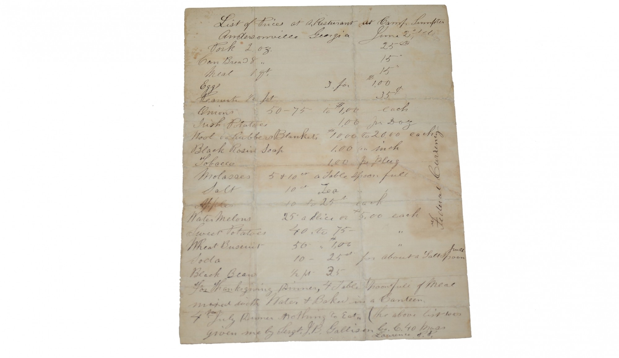 "P.O.W. / ANDERSONVILLE DOCUMENT - ""LIST OF PRICES AT A RESTURANT AT CAMP SUMTER / ANDERSONVILLE GEORGIA."""