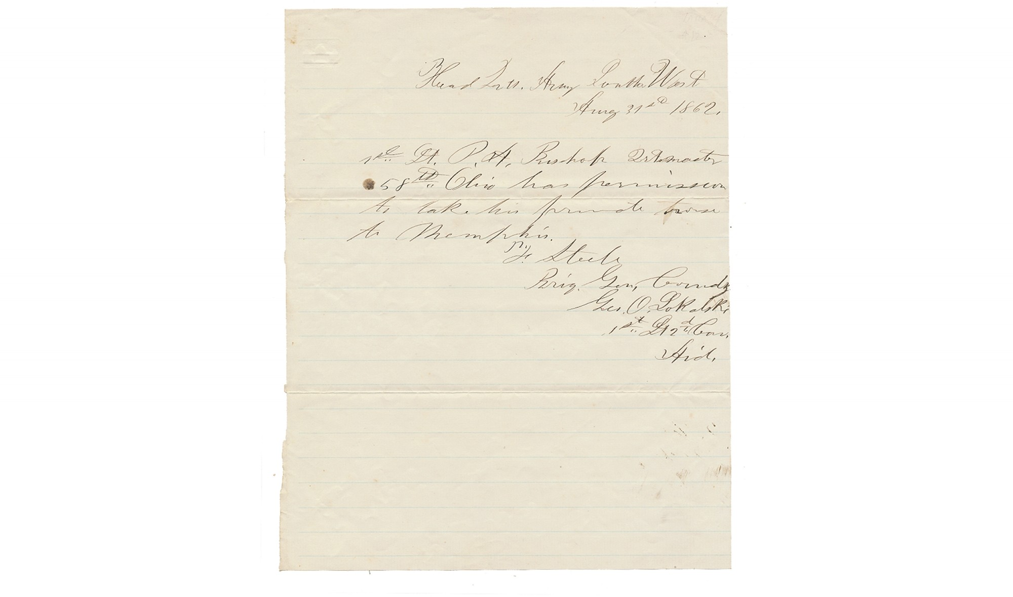 1862 HANDWRITTEN PASS FOR 58TH OHIO SOLDIER, HEADQUARTERS OF ARMY OF THE SOUTH WEST
