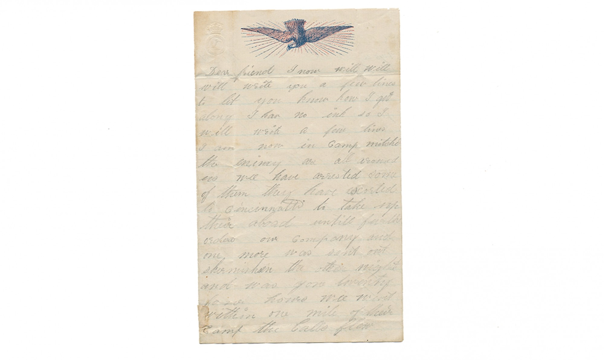 UNDATED FOUR PAGE LETTER WRITTEN BY PVT. CHARLES L. BONNEY, 103RD OHIO VOLUNTEERS