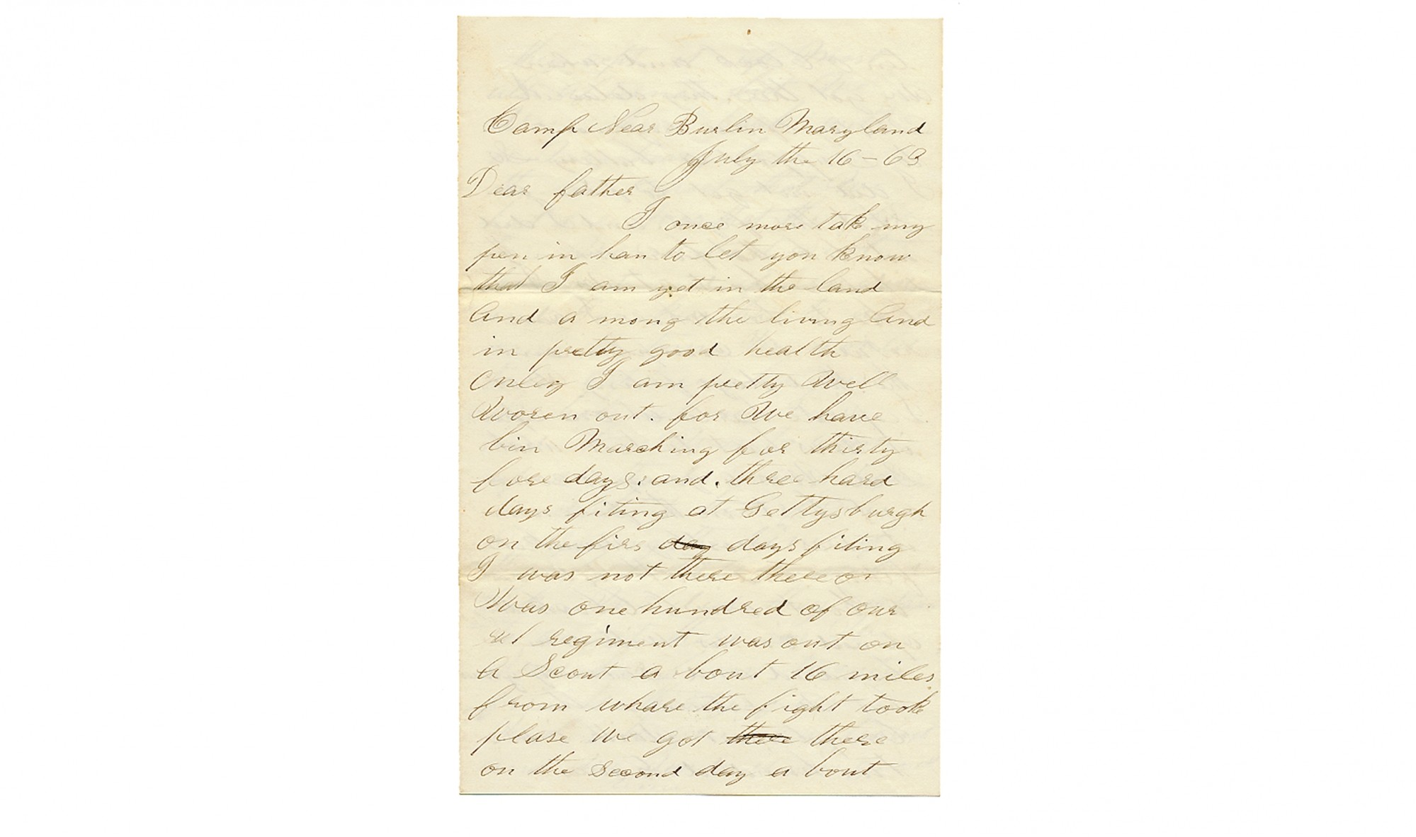 61st OHIO SOLDIER'S LETTER – EYEWITNESS TO THE BATTLE OF GETTYSBURG