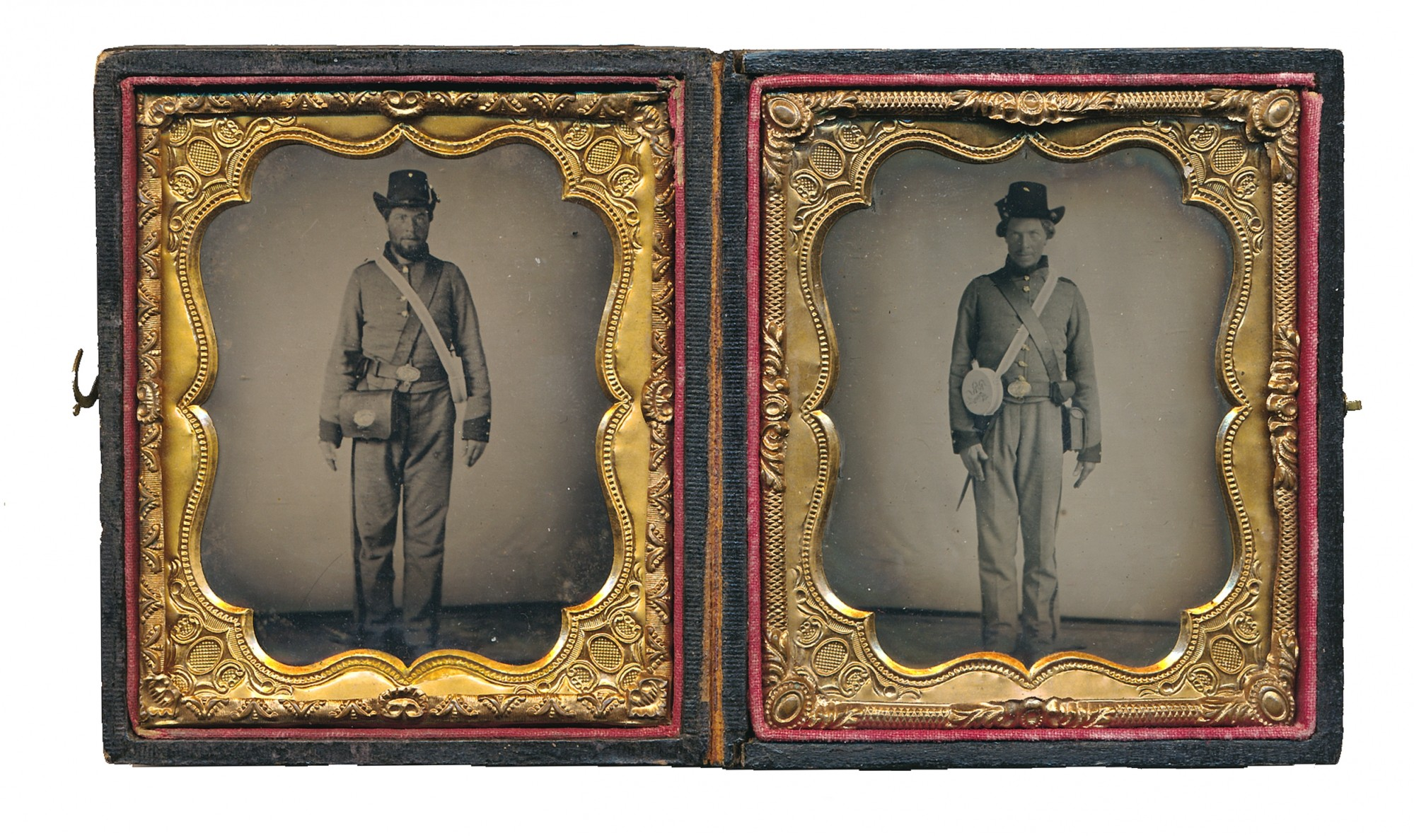 FANTASTIC DOUBLE CONFEDERATE SIXTH PLATE TINTYPES