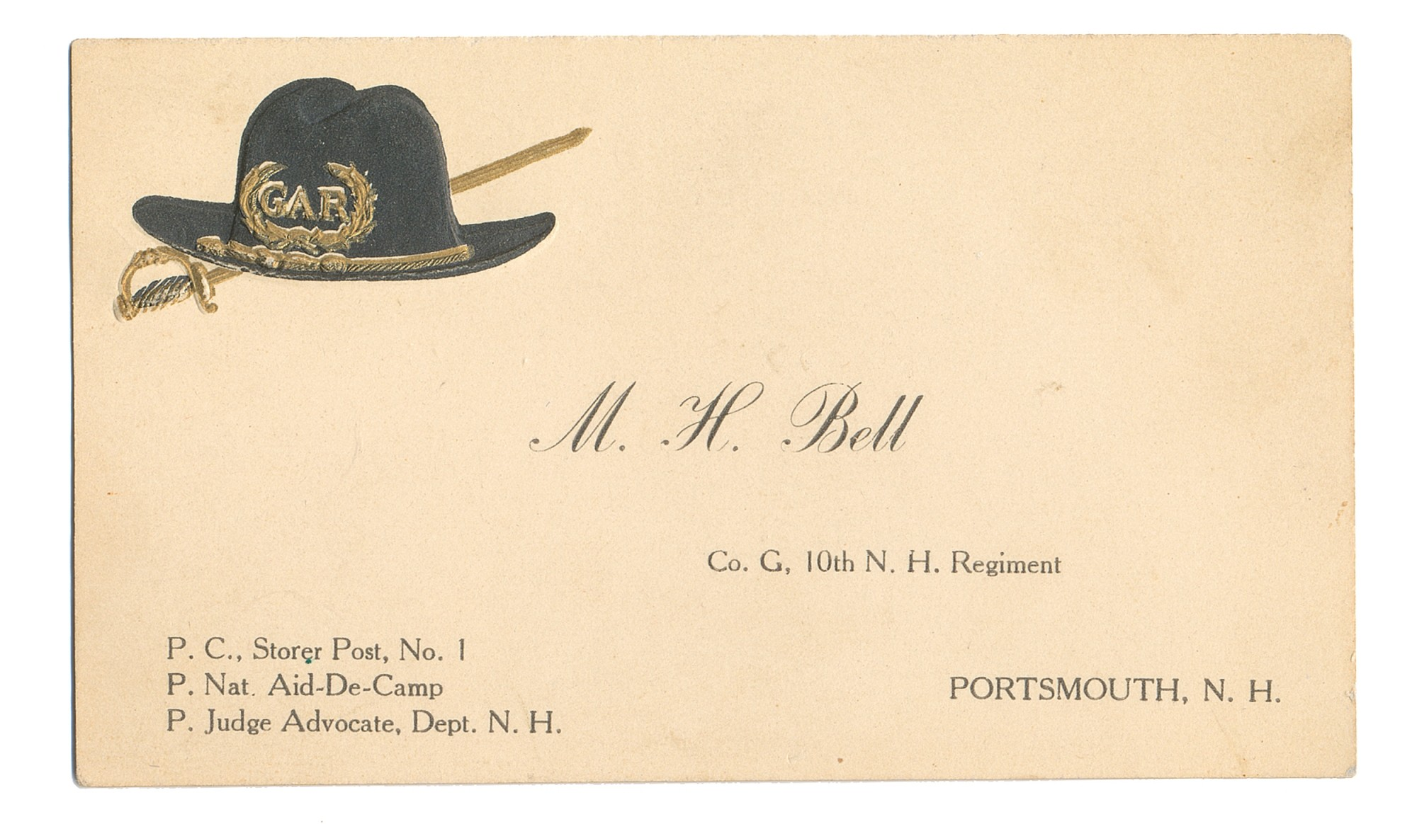 GAR BUSINESS CARD FOR 10TH NEW HAMPSHIRE SOLDIER