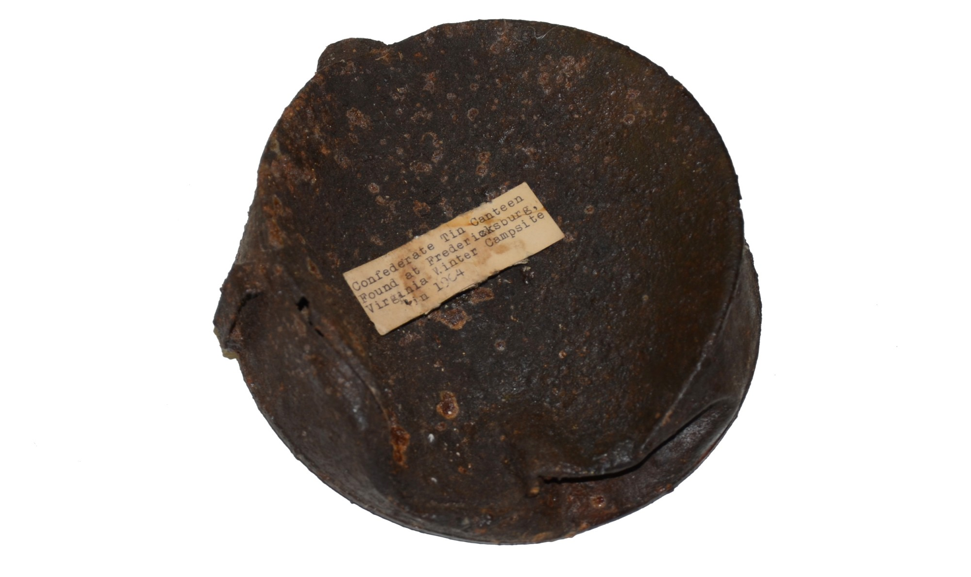 CONFEDERATE TIN DRUM CANTEEN RECOVERED AT FREDERICKSBURG