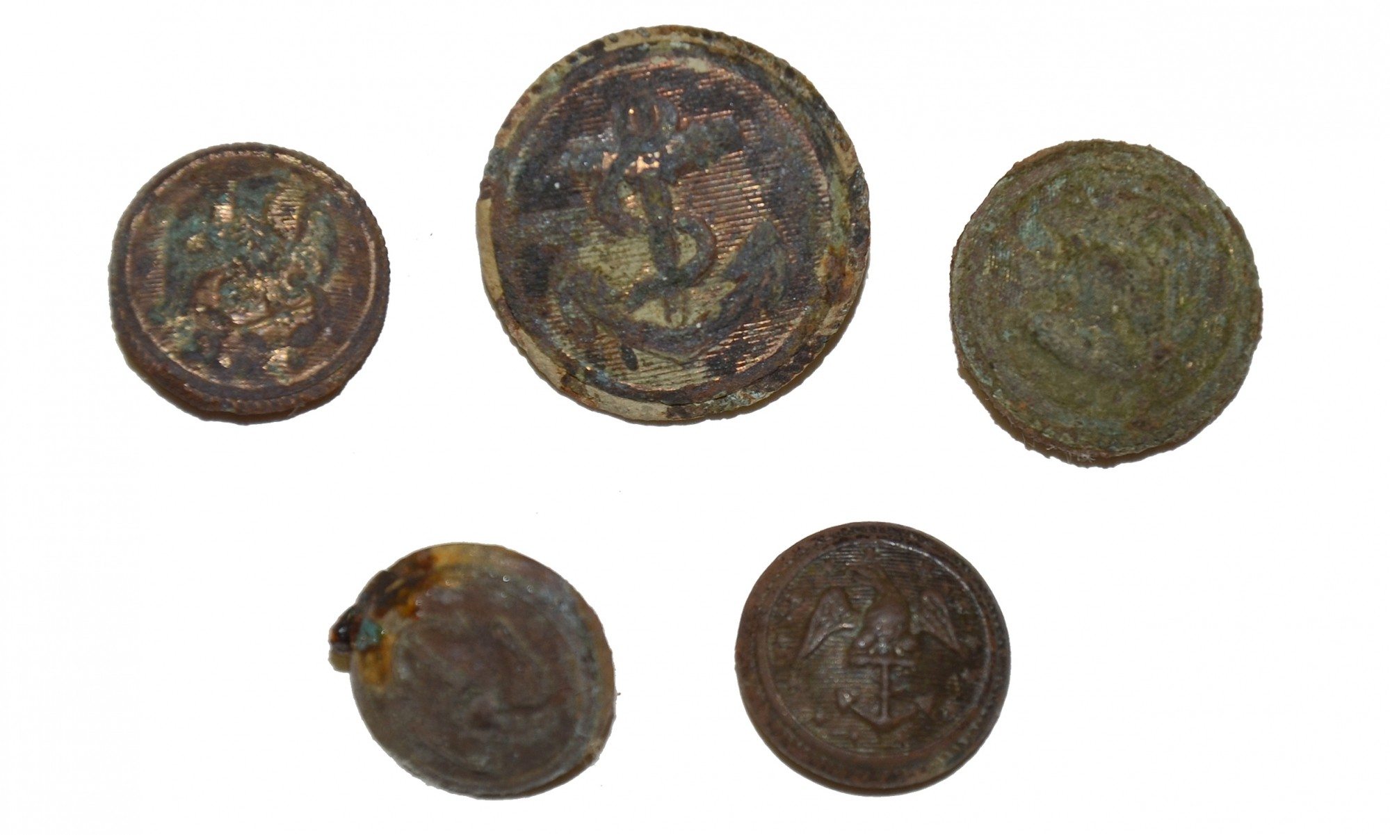 GROUP OF NAVAL BUTTONS RECOVERED FROM BERKLEY PLANTATION