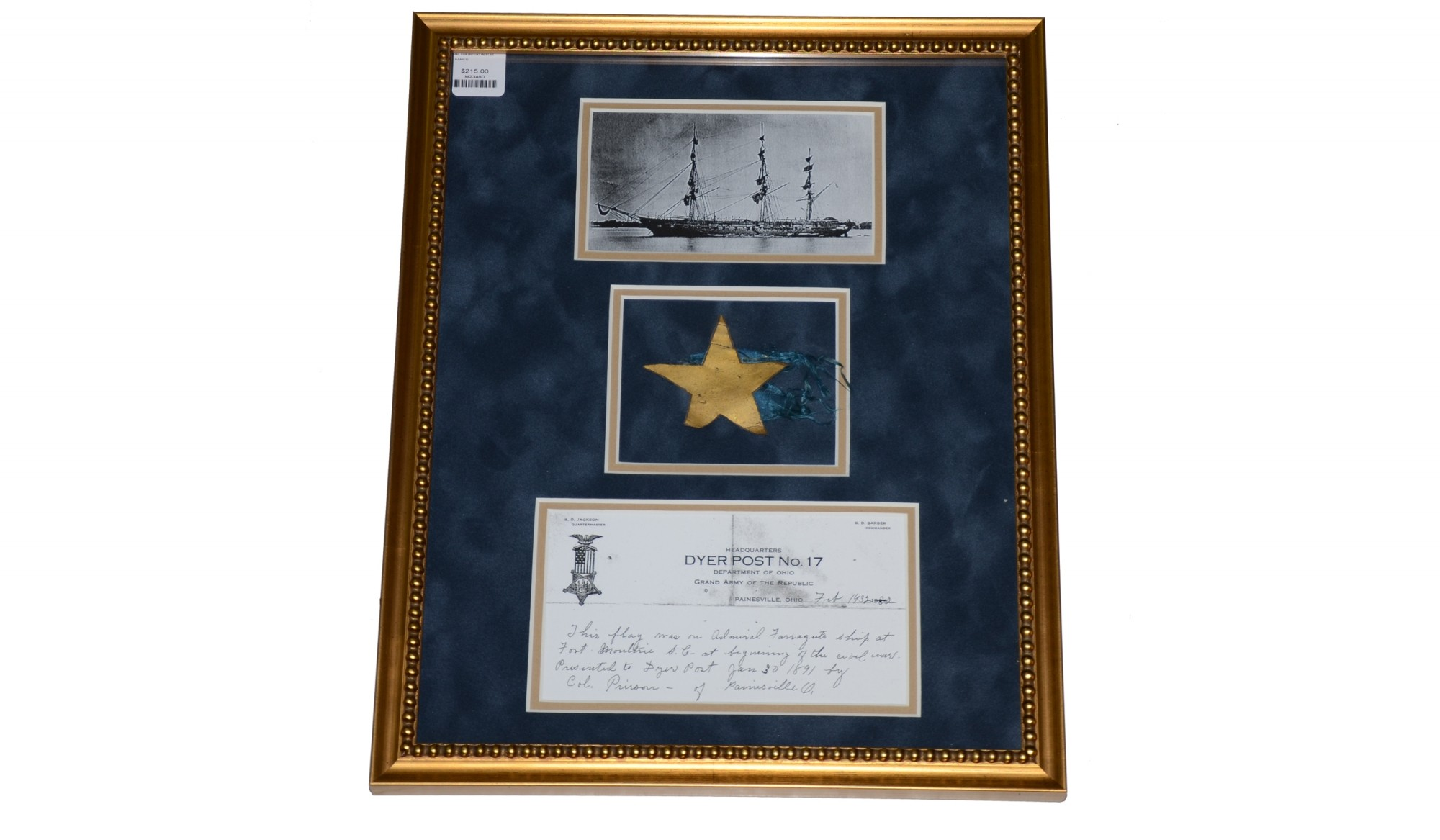 PIECE OF A FLAG FROM THE USS BROOKLYN