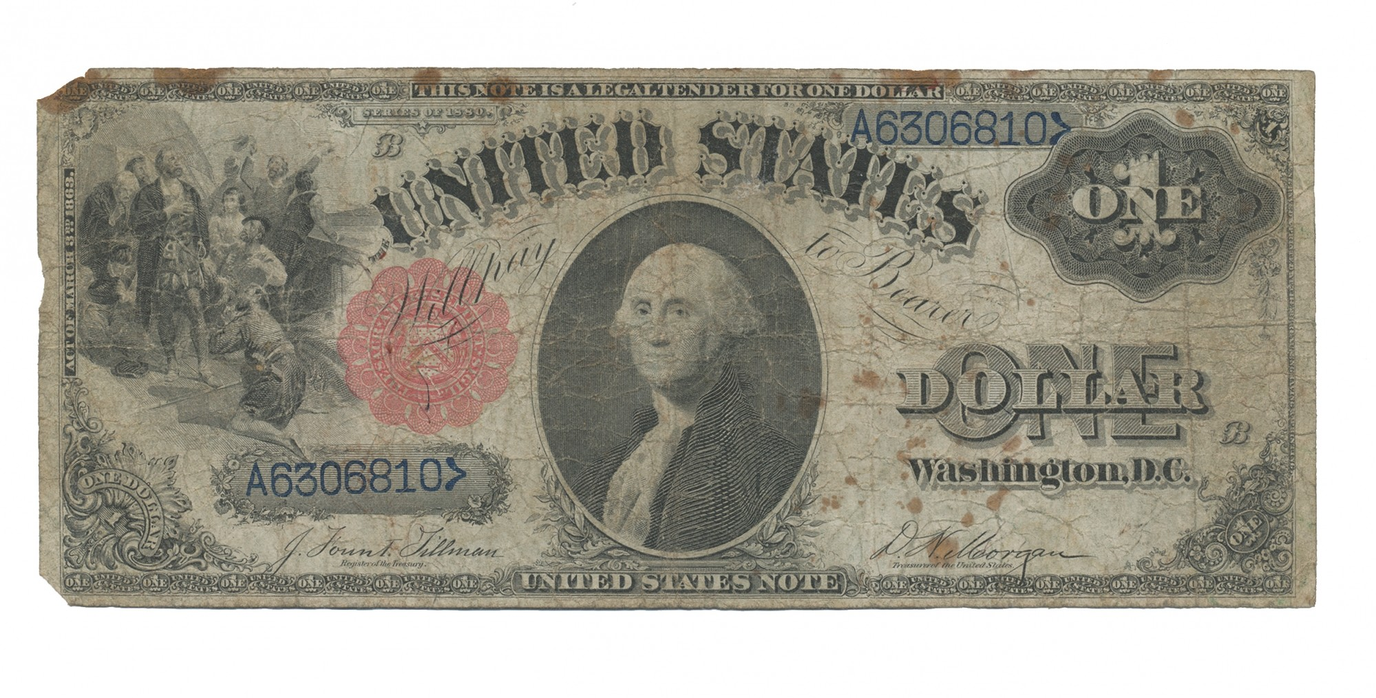 SERIES OF 1880 US ONE DOLLAR BILL