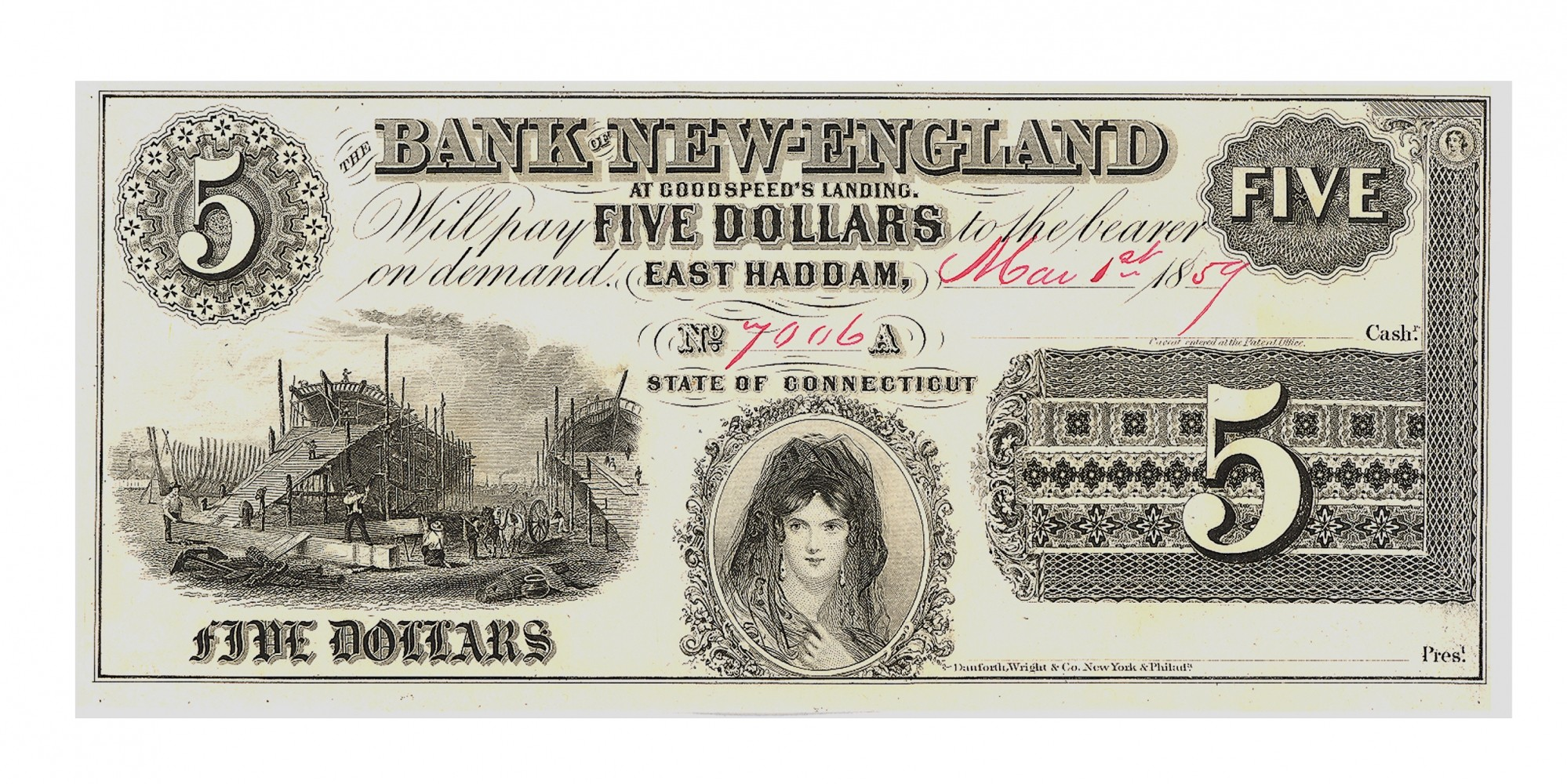 THE BANK OF NEW ENGLAND $5 NOTE
