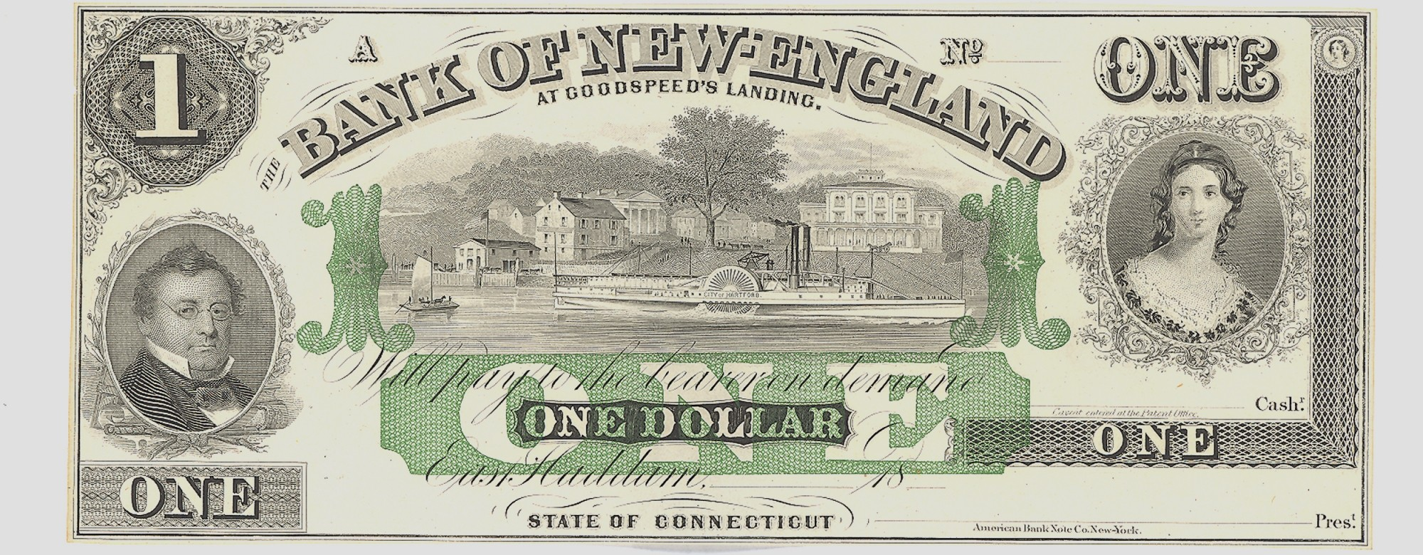 THE BANK OF NEW ENGLAND $1 NOTE
