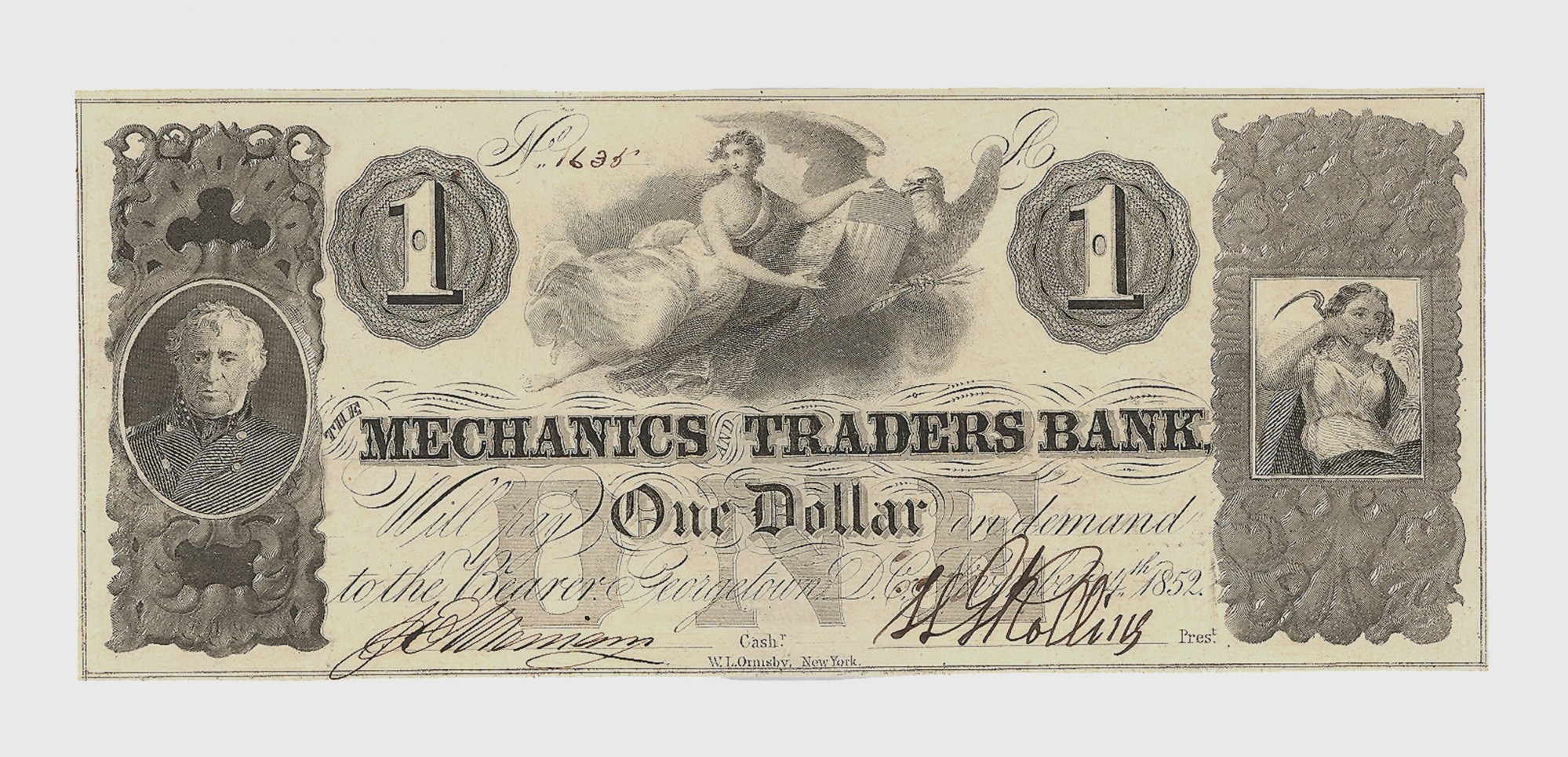 THE MECHANICS AND TRADERS BANK, WASHINGTON D.C. $1 NOTE