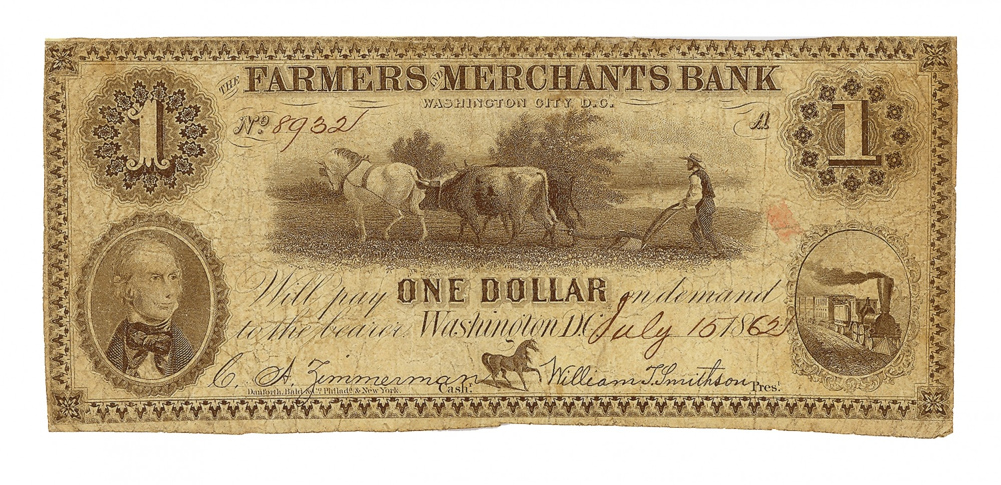 THE FARMERS AND MERCHANTS BANK, WASHINGTON D.C. $1 NOTE