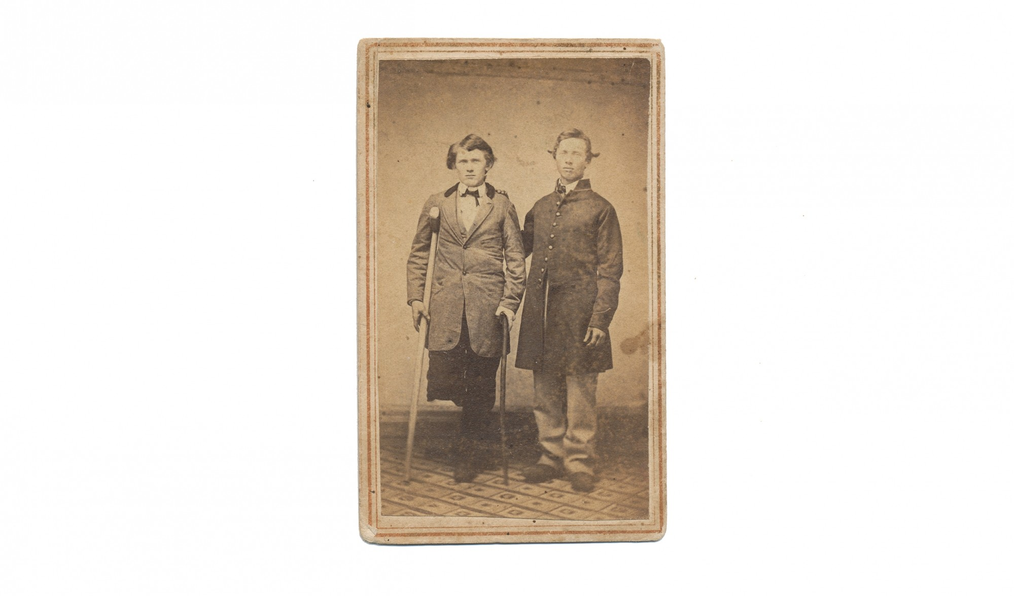 CDV SOLDIER WITH AMPUTEE FRIEND OR RELATIVE