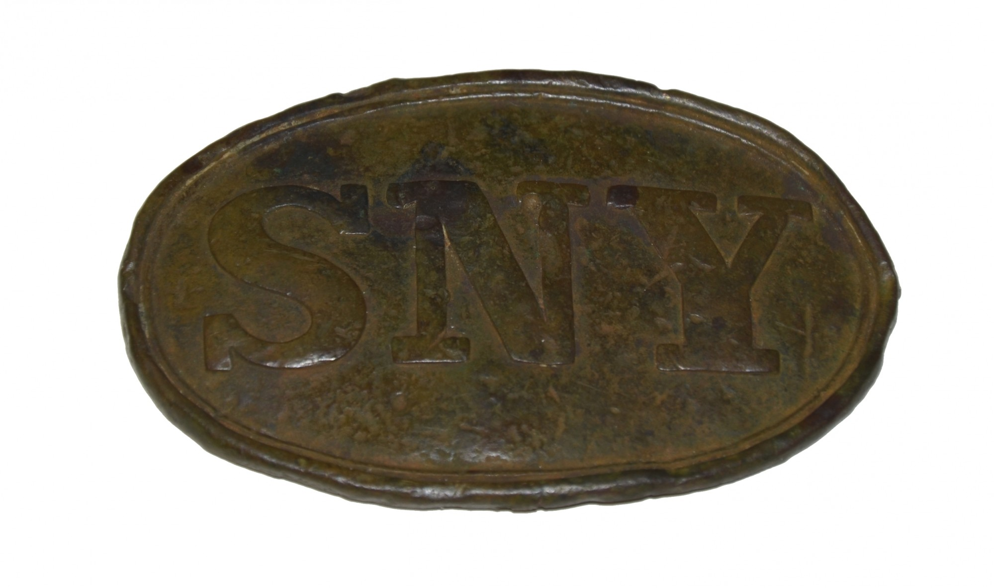 STATE OF NEW YORK CARTRIDGE BOX PLATE RECOVERED AT MANASSAS