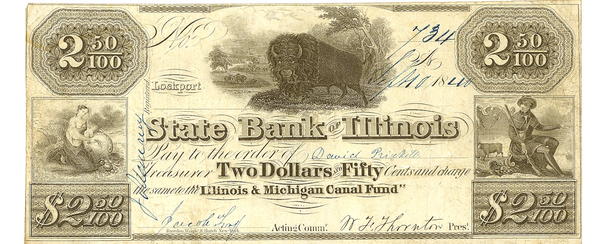 THE STATE BANK OF ILLINOIS LOCKPORT $2.50 NOTE