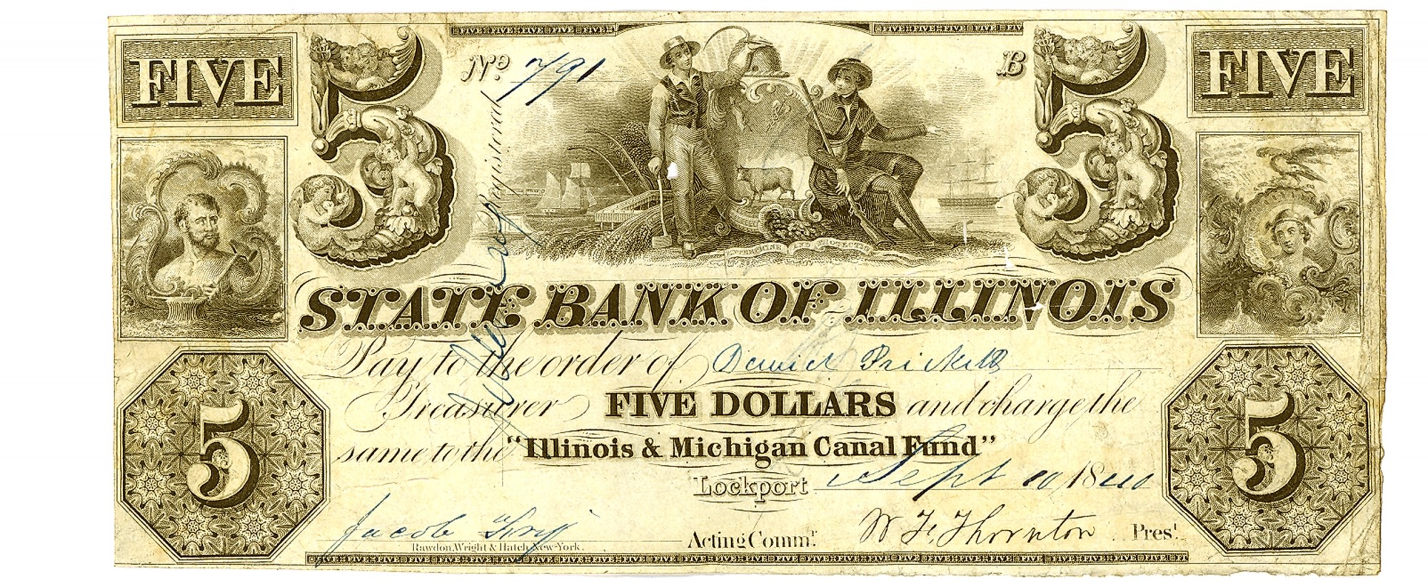 THE STATE BANK OF ILLINOIS LOCKPORT $5 NOTE