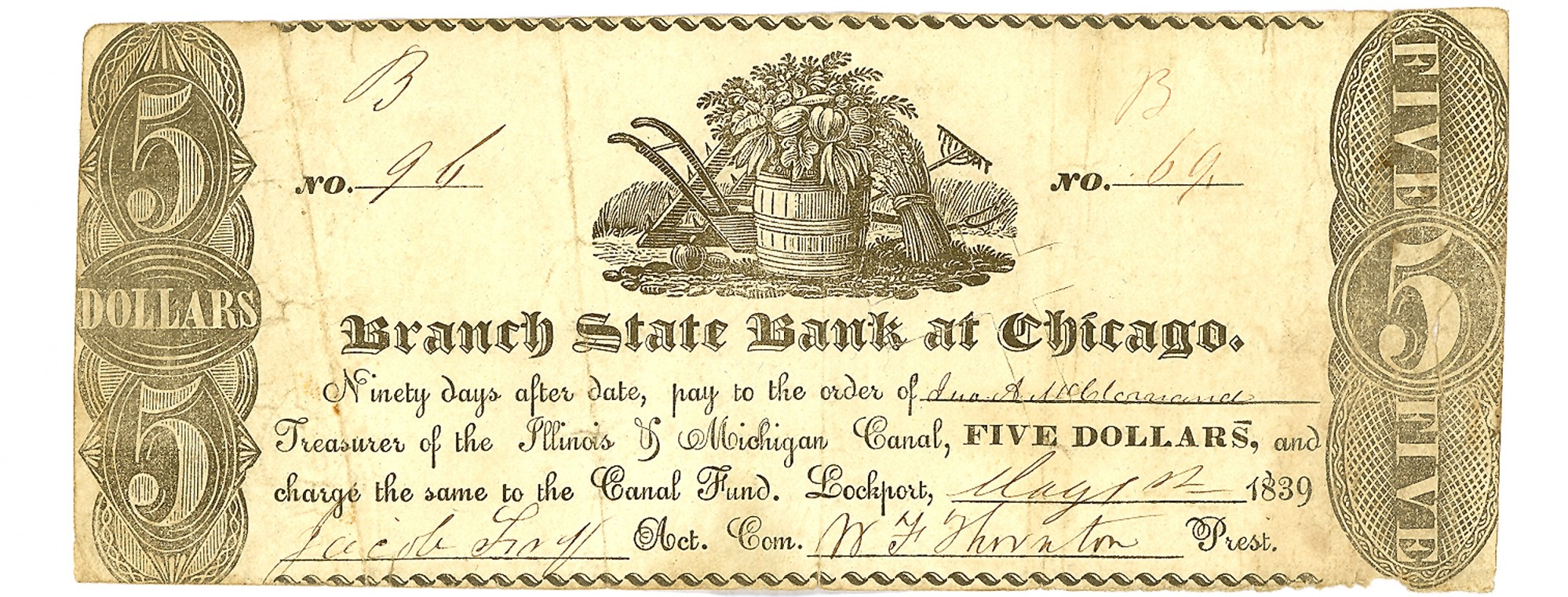 BRANCH STATE BANK AT CHICAGO $5 NOTE