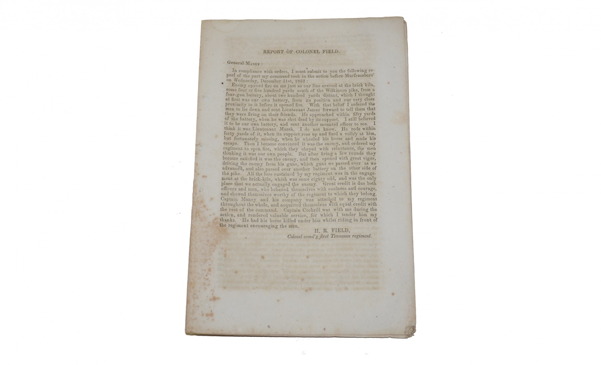 WARTIME PRINTING OF CONFEDERATE REPORTS OF MURFREESBORO