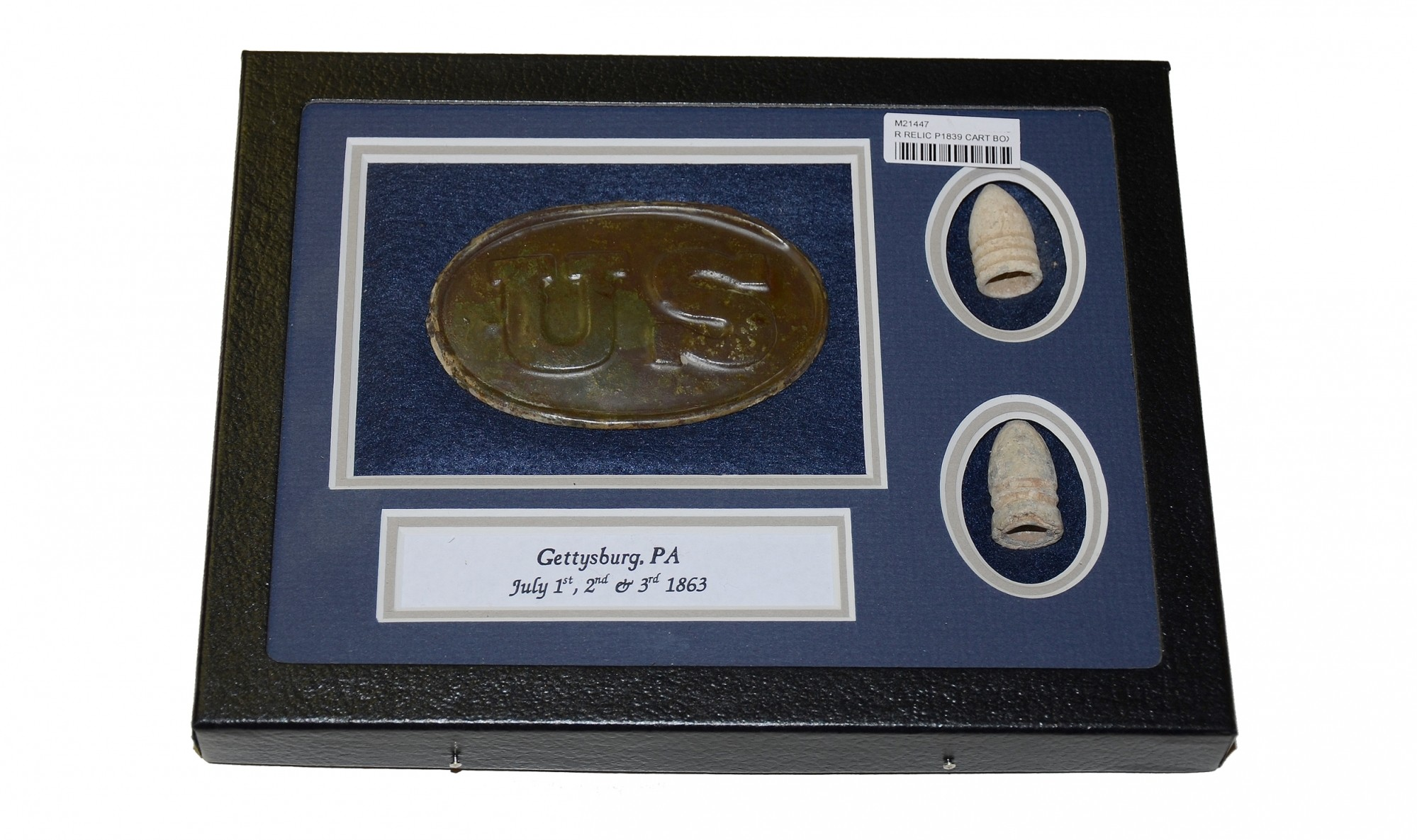 US PATTERN 1839 CARTRIDGE BOX PLATE FROM THE ROSENSTEEL GETTYSBURG COLLECTION