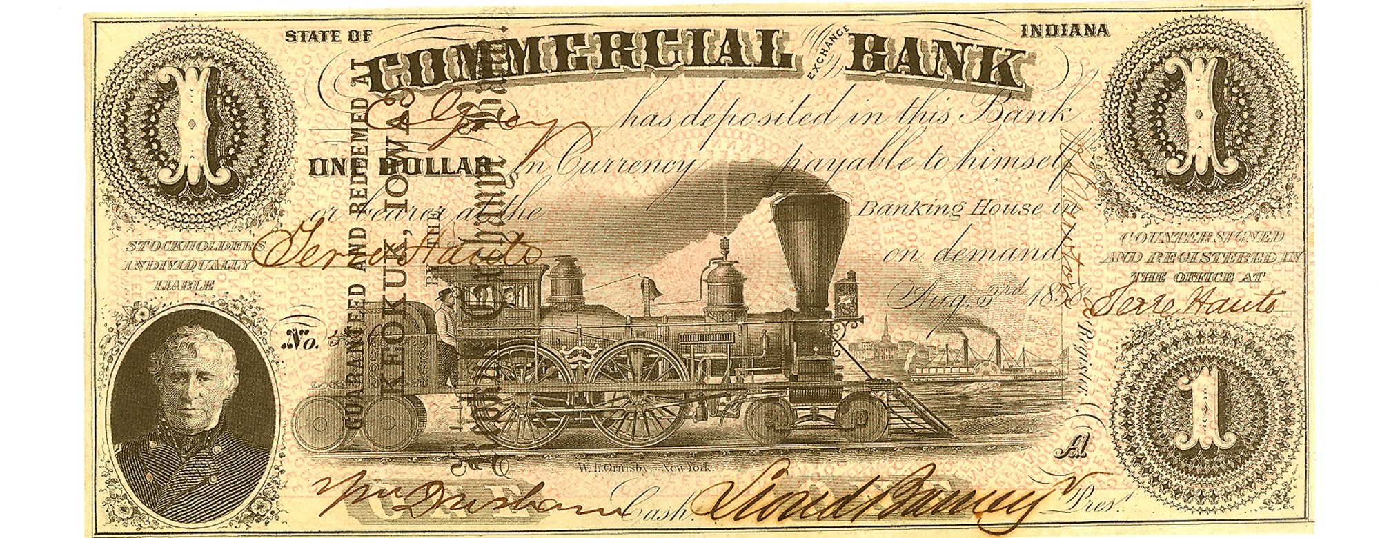COMMERCIAL EXCHANGE BANK, INDIANA $1 NOTE