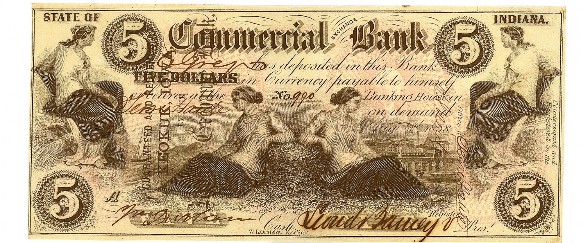 COMMERCIAL EXCHANGE BANK, INDIANA $5 NOTE