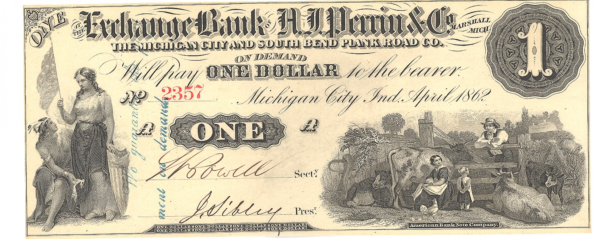 THE EXCHANGE BANK OF A.J. PERRIN & CO., MICHIGAN CITY, MICHIGAN $1 NOTE