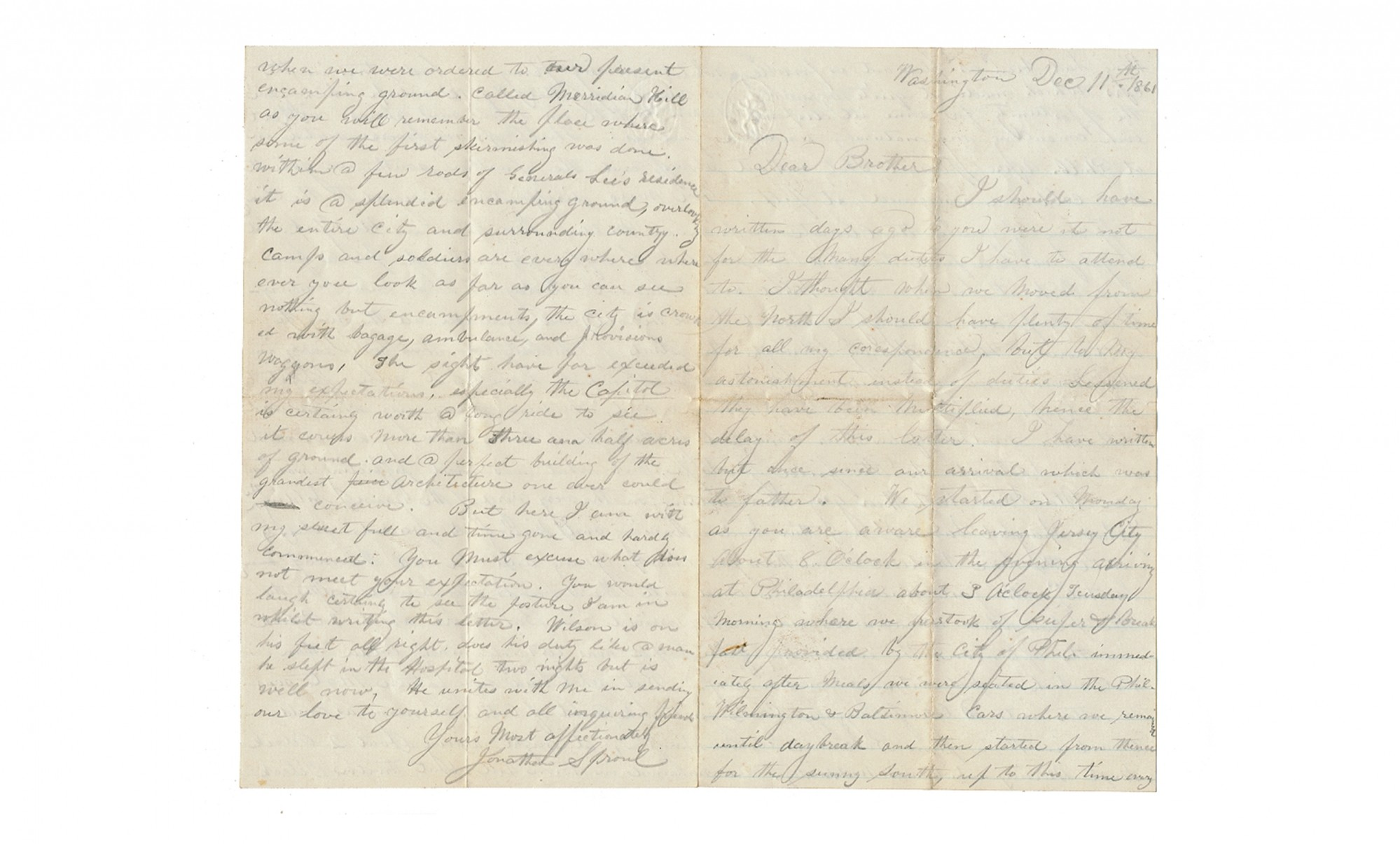 "SOLDIER LETTER WRITTEN BY CORPORAL JONATHAN SPROUL, CO. ""G"", 31ST NEW YORK INFANTRY"