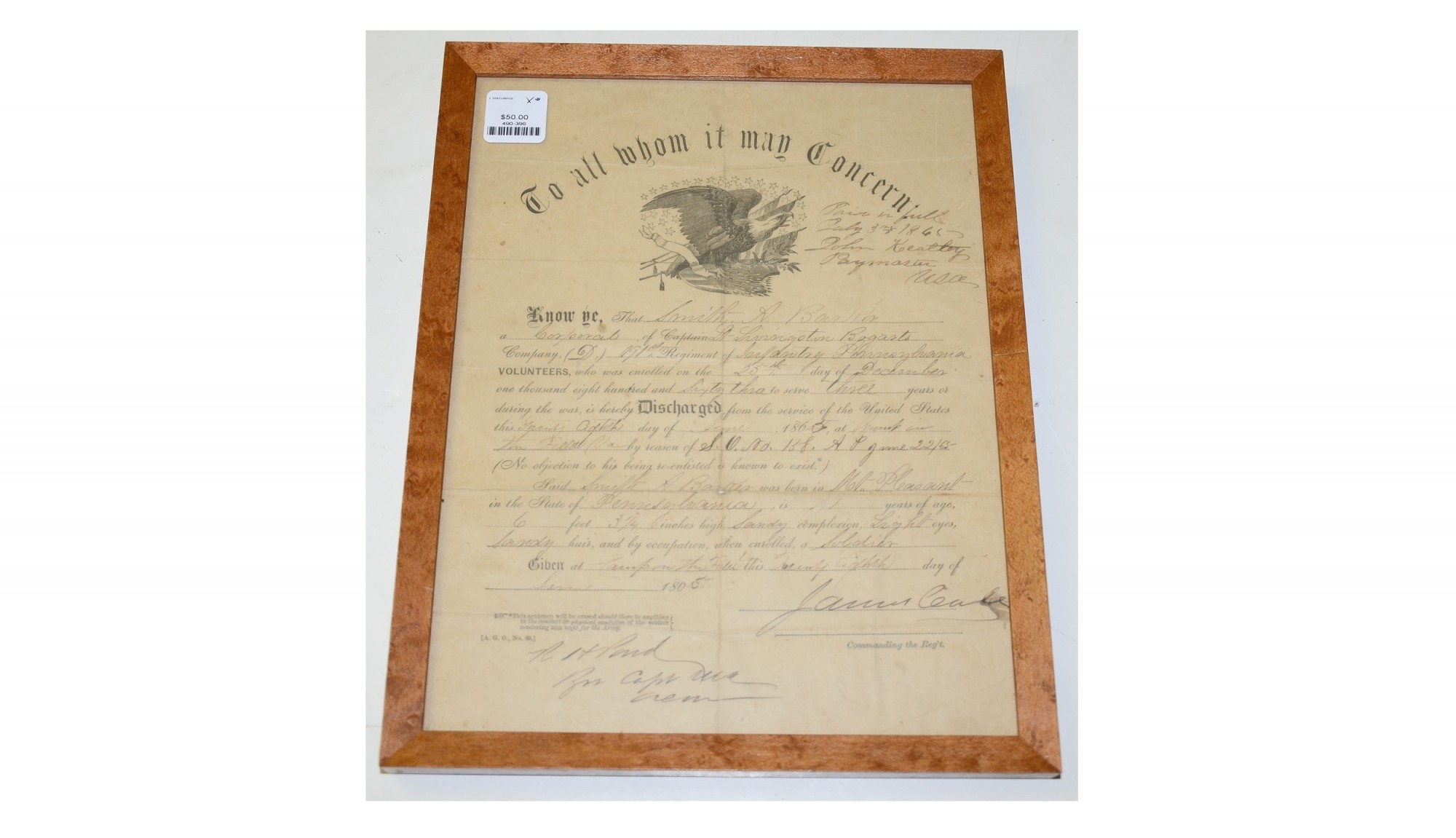 EAGLE DISCHARGE FOR 35TH PENNSYLVANIA & 191ST PENNSYLVANIA SOLDIER