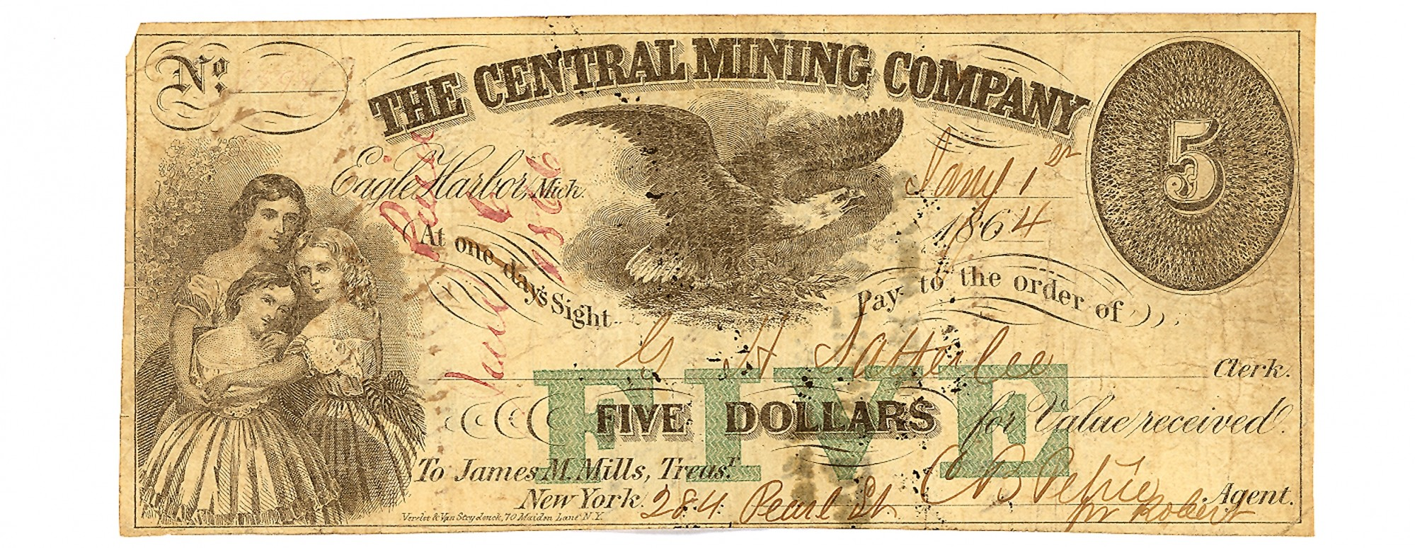 THE CENTRAL MINING COMPANY, EAGLE HARBOR, MICHIGAN $5 NOTE