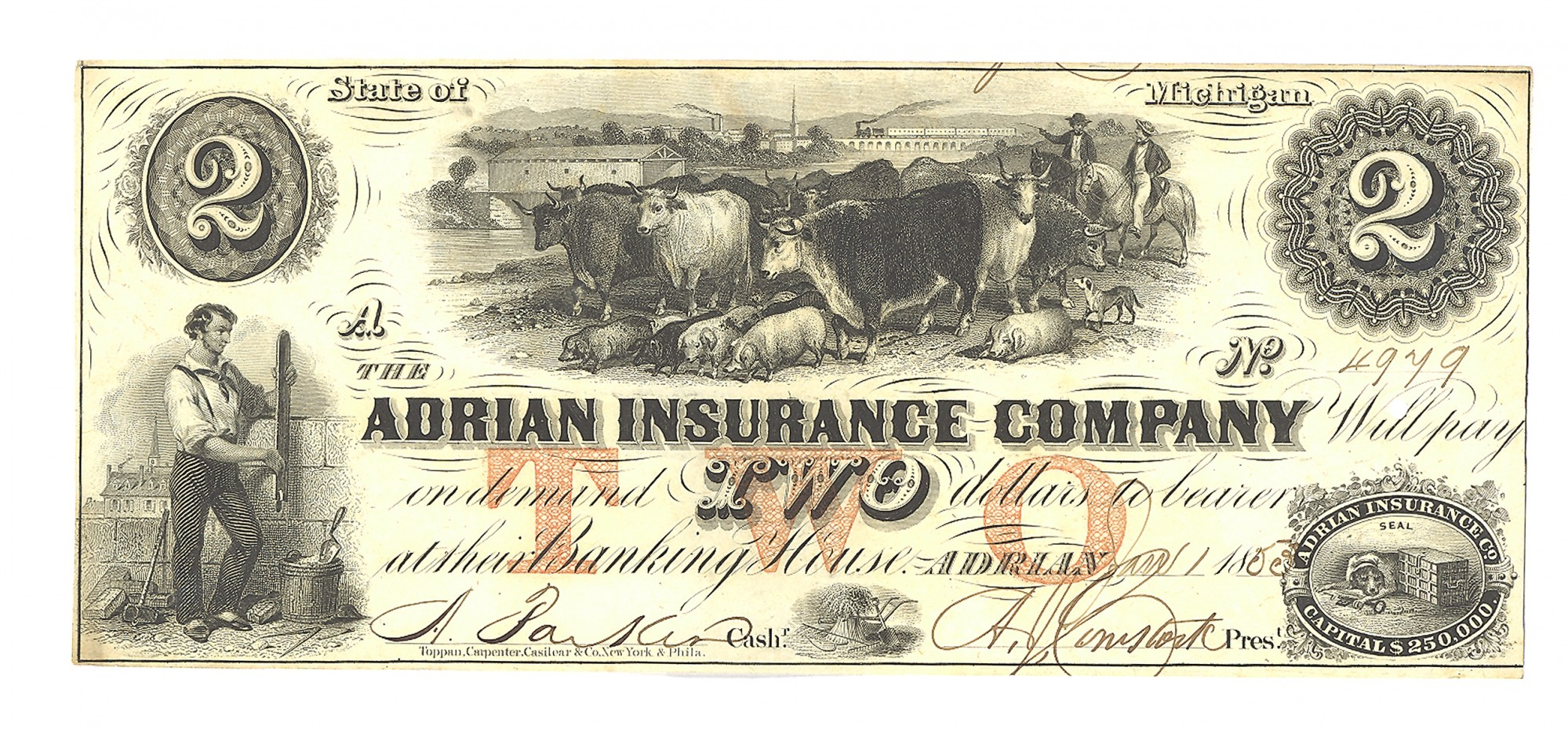 THE ADRIAN INSURANCE COMPANY, ADRIAN, MICHIGAN $2 NOTE