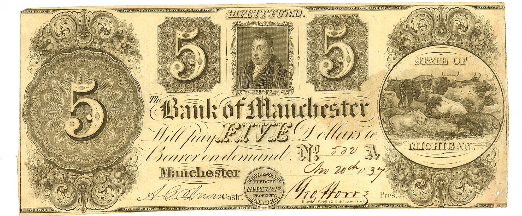 THE BANK OF MANCHESTER, MANCHESTER, MICHIGAN $5 NOTE